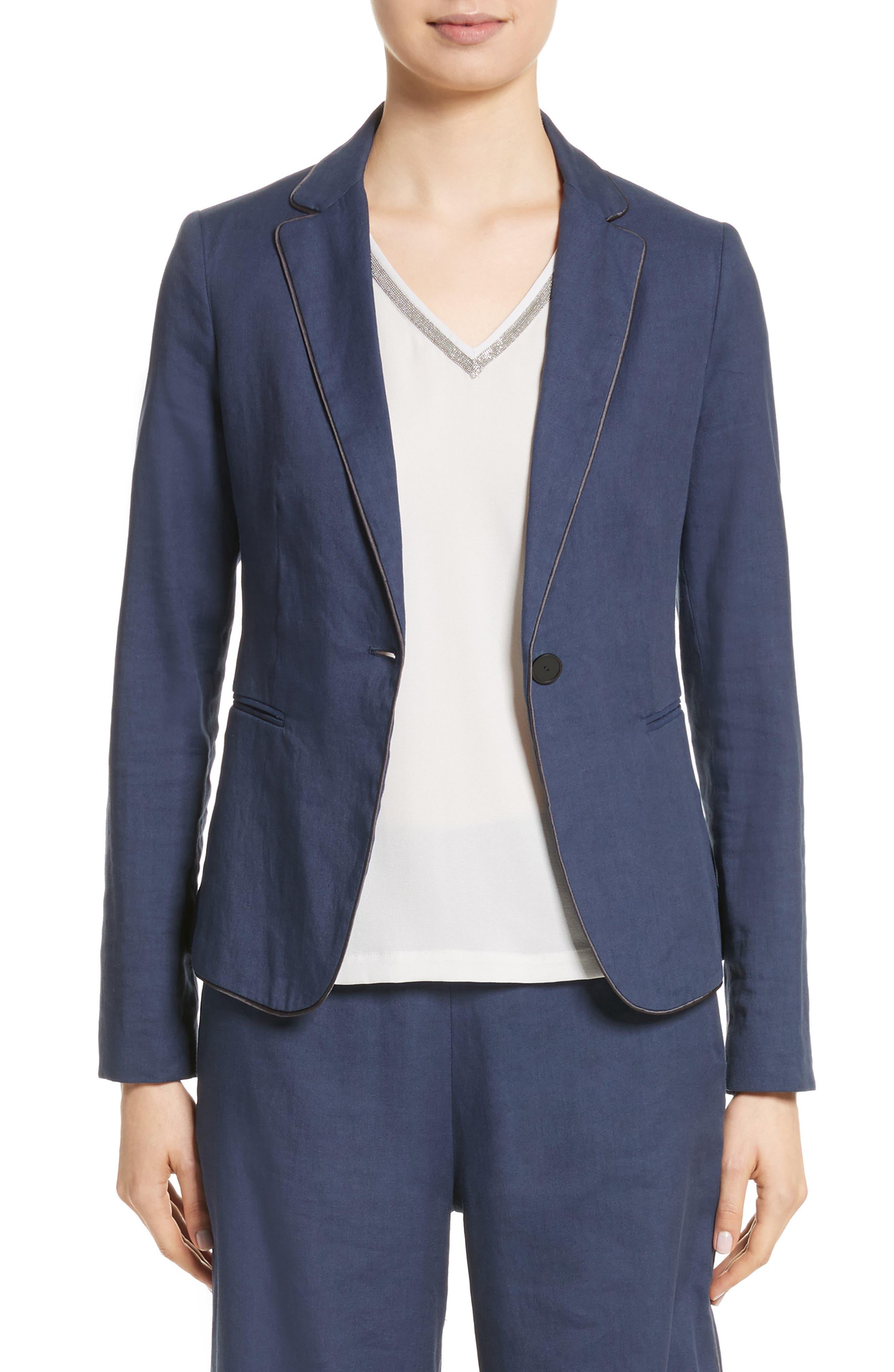 Piped Linen & Cotton Blend Blazer,                         Main,                         color,