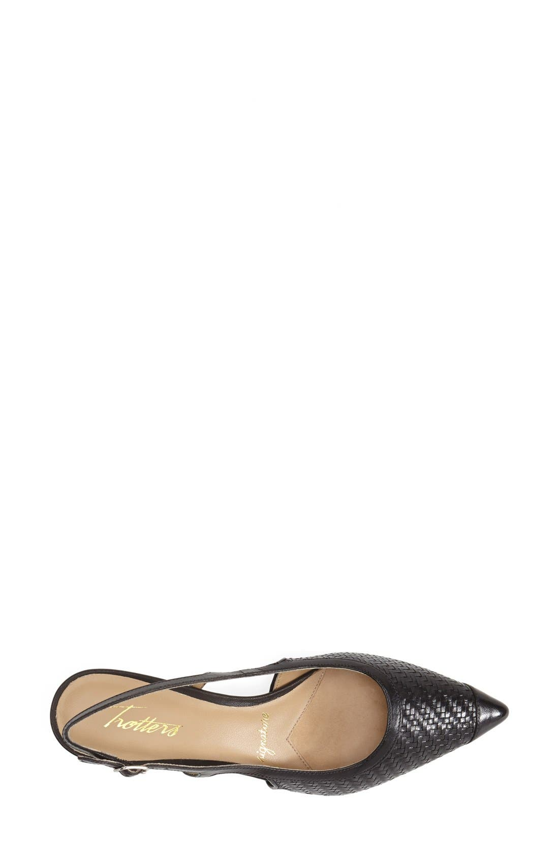 'Kimberly' Woven Leather Slingback Pump,                             Alternate thumbnail 3, color,                             BLACK