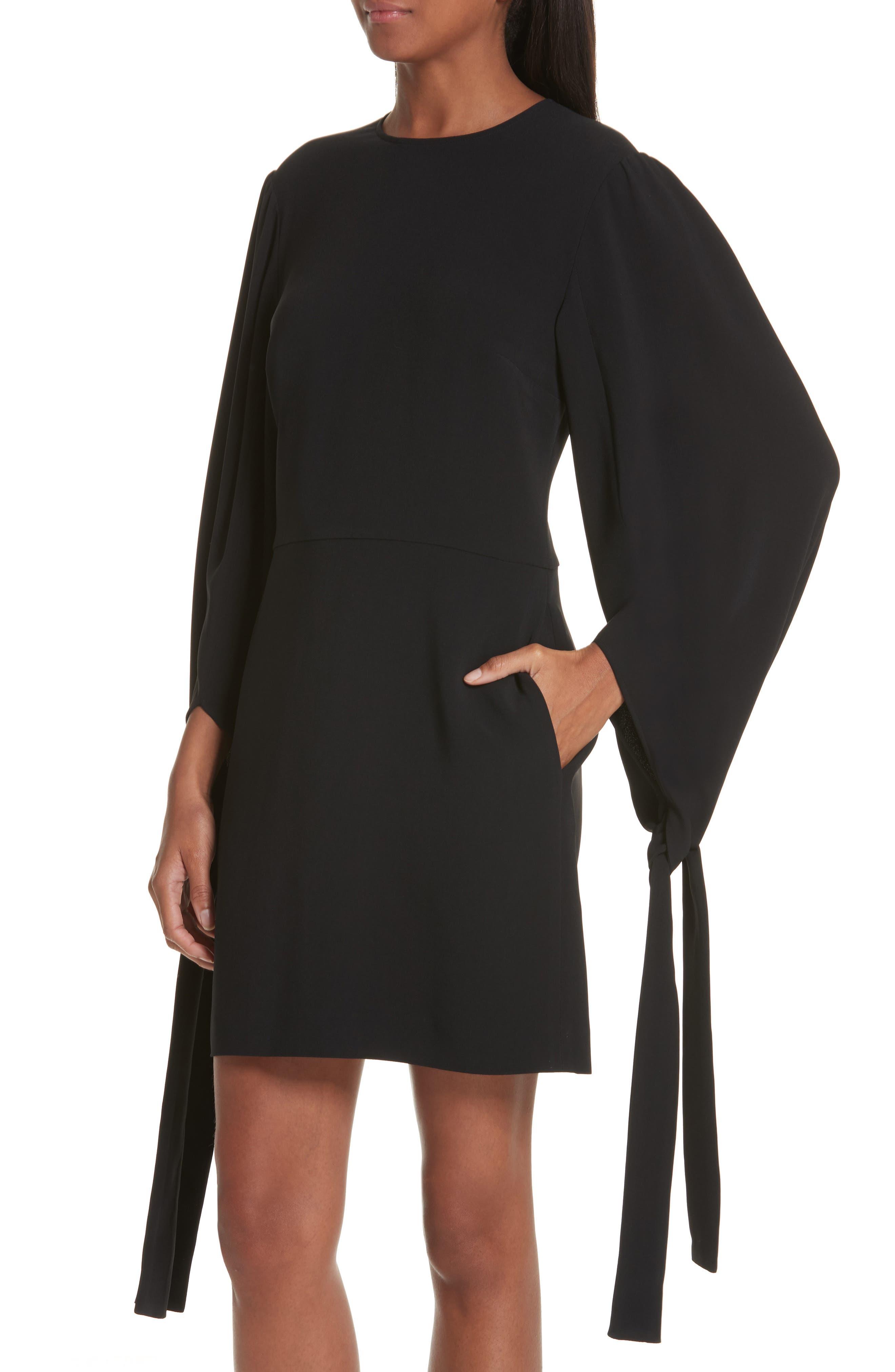 Tie Cuff Stretch Cady Dress,                             Alternate thumbnail 4, color,                             BLACK