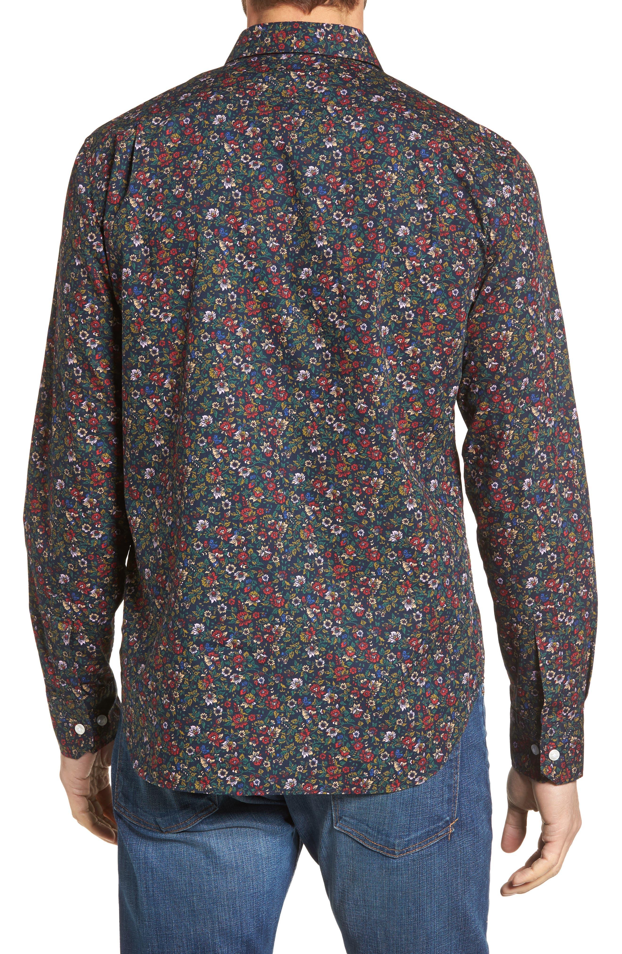 Unbutton Down Slim Fit Floral Sport Shirt,                             Alternate thumbnail 2, color,                             001