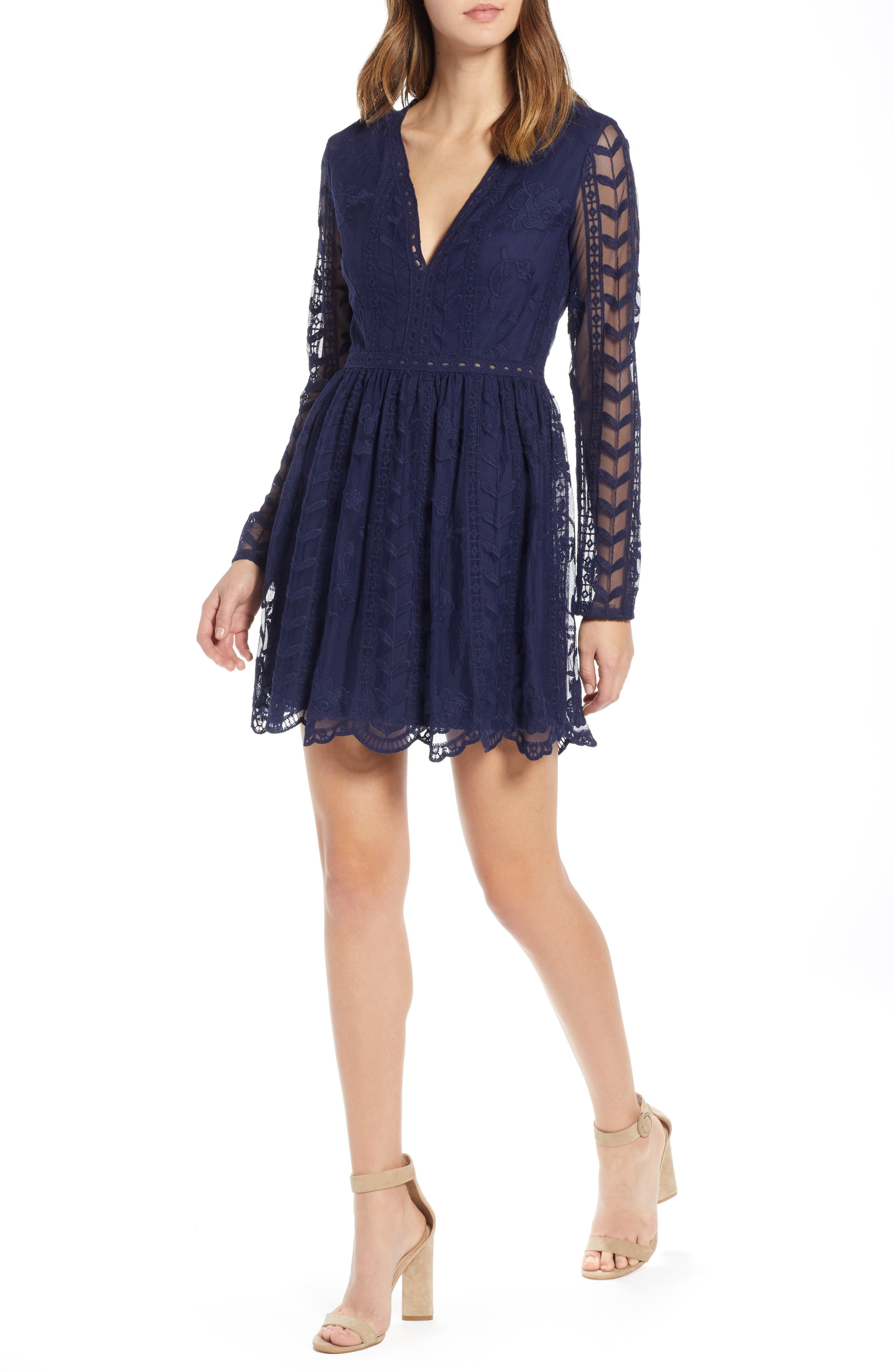 Socialite Long Sleeve V-Neck Lace Dress, Blue