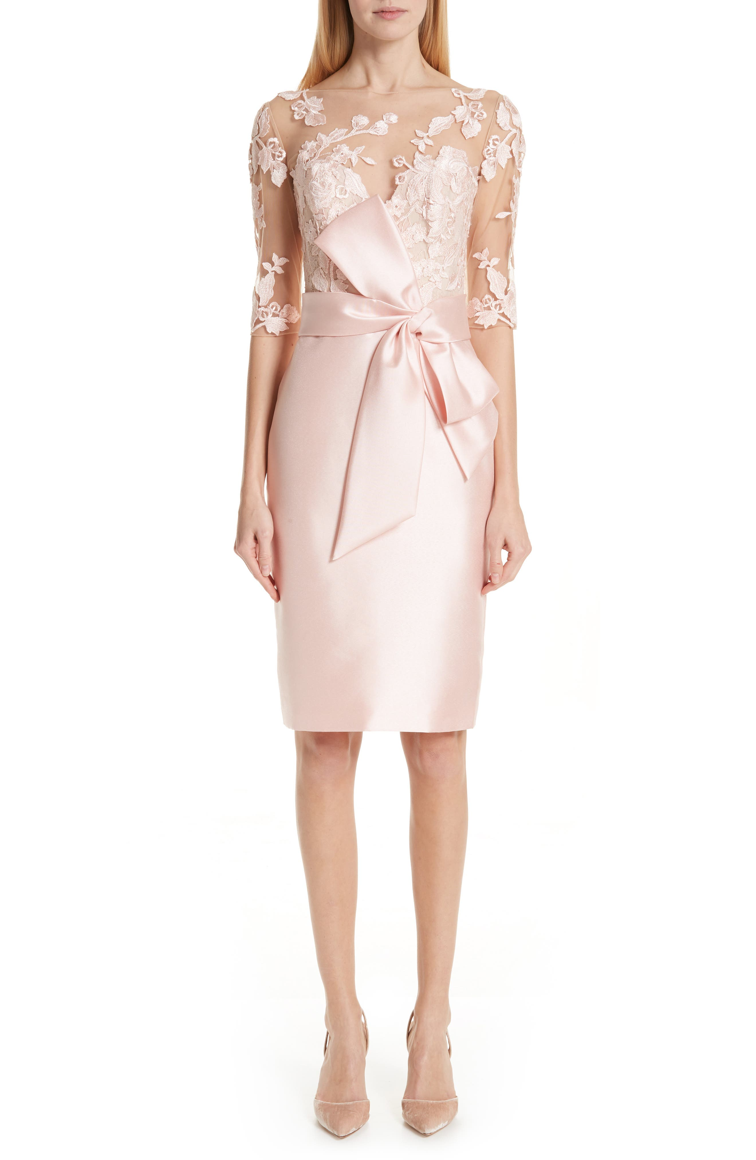 BADGLEY MISCHKA COLLECTION Badgley Mischka Lace Accent Bow Cocktail Dress, Main, color, PETAL