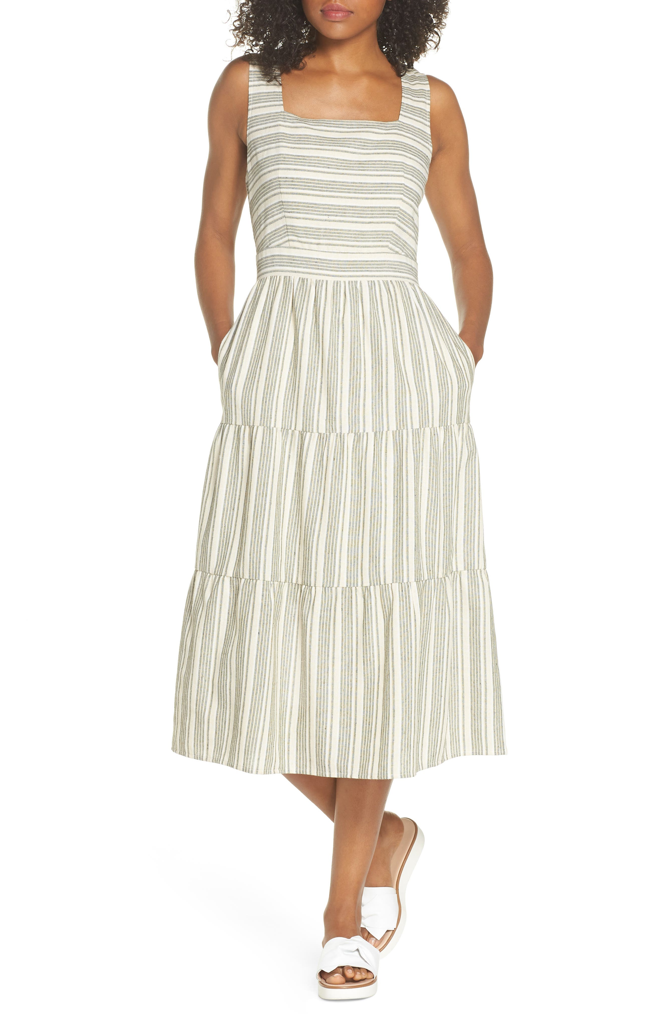 Sleeveless Stripe Midi Dress,                         Main,                         color, 300