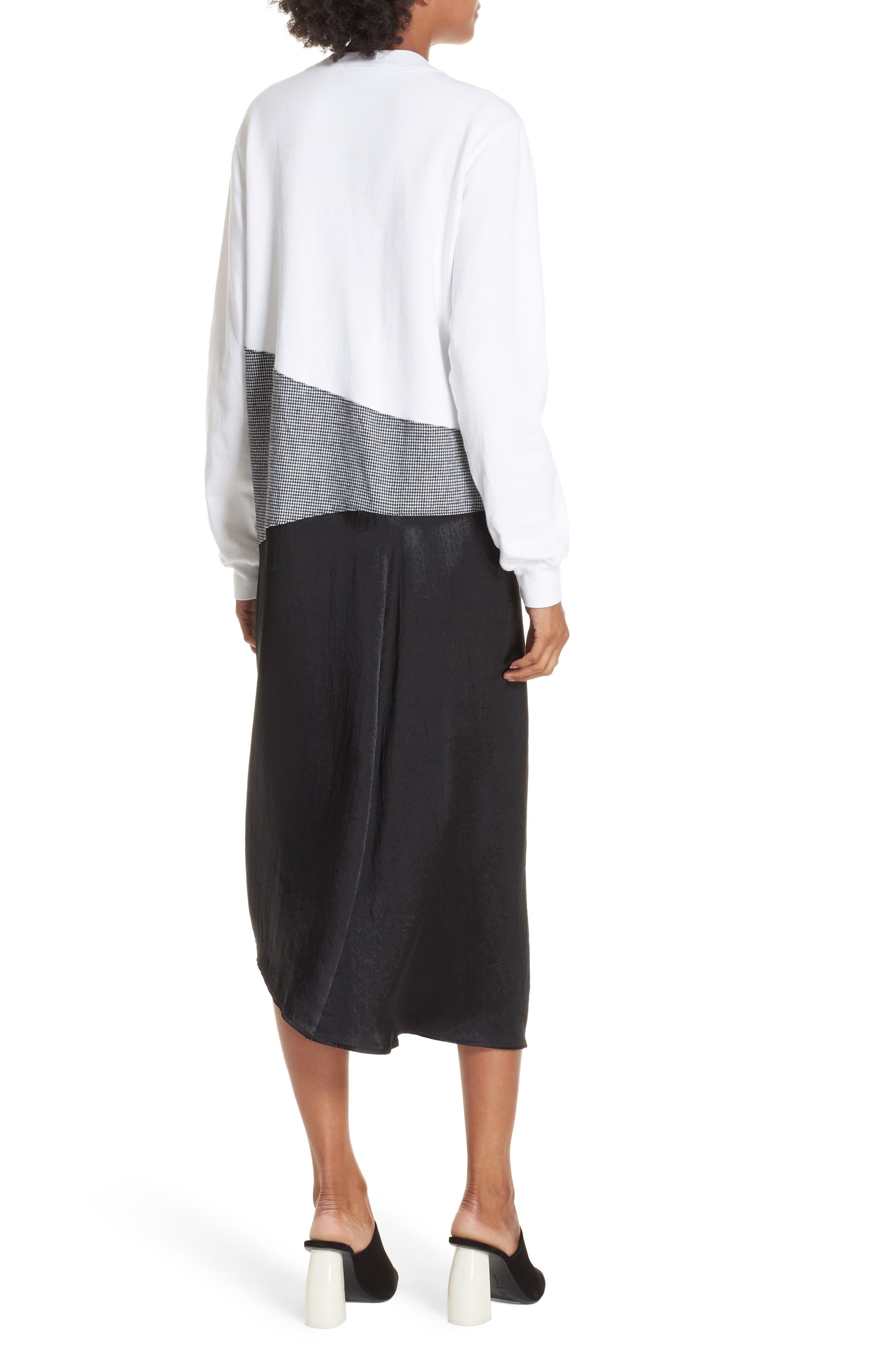 Colorblock Asymmetric Dress,                             Alternate thumbnail 2, color,                             WHITE/ BLACK