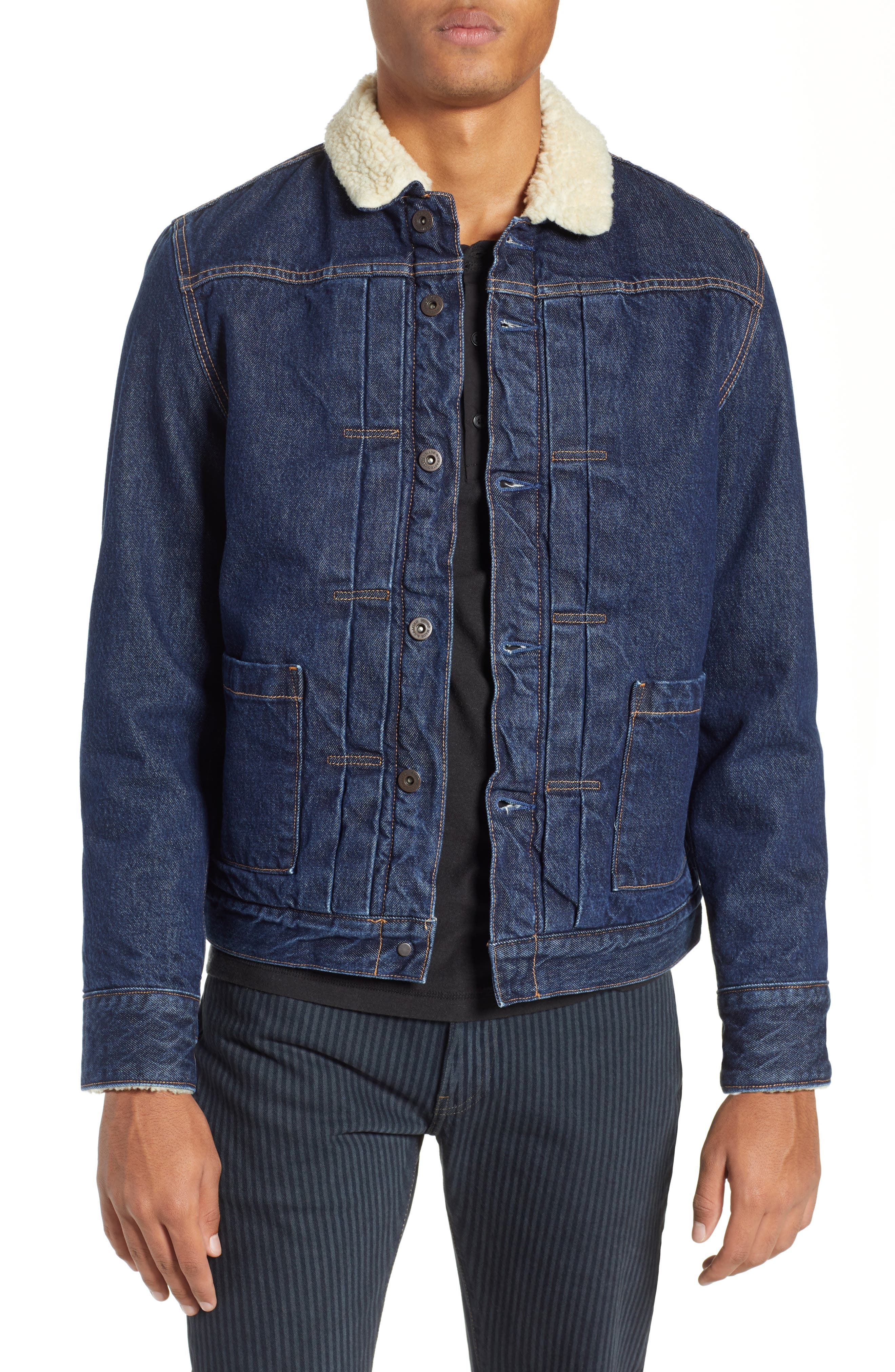 Levi's Made & Crafted<sup>™</sup> Faux Shearling Lined Denim Jacket,                             Main thumbnail 1, color,                             CANYON