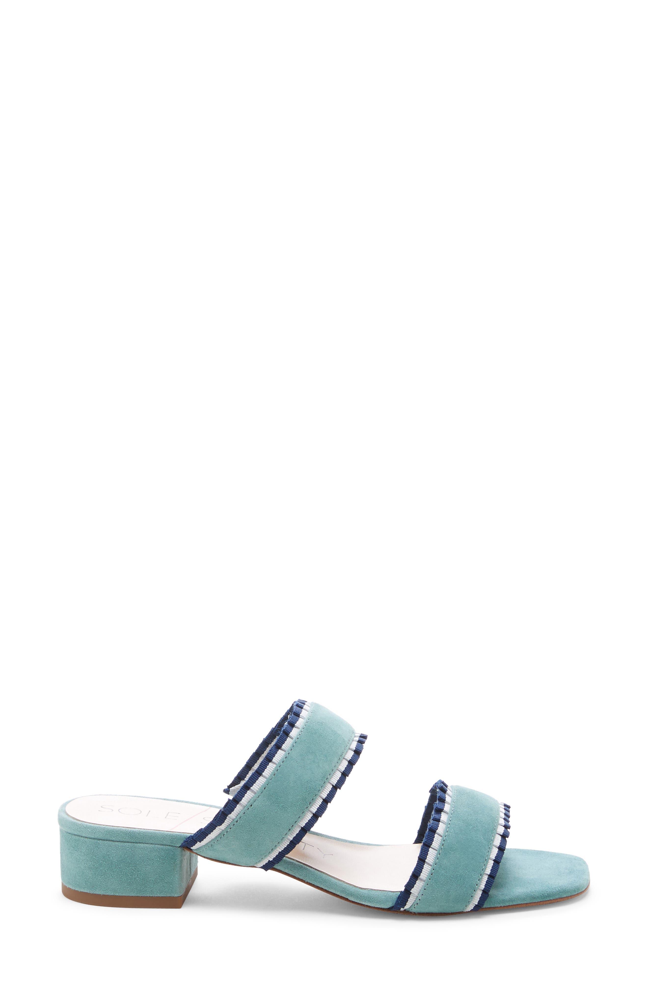 SOLE SOCIETY,                             Elura Slide Sandal,                             Alternate thumbnail 3, color,                             LIGHT SEA GREEN SUEDE