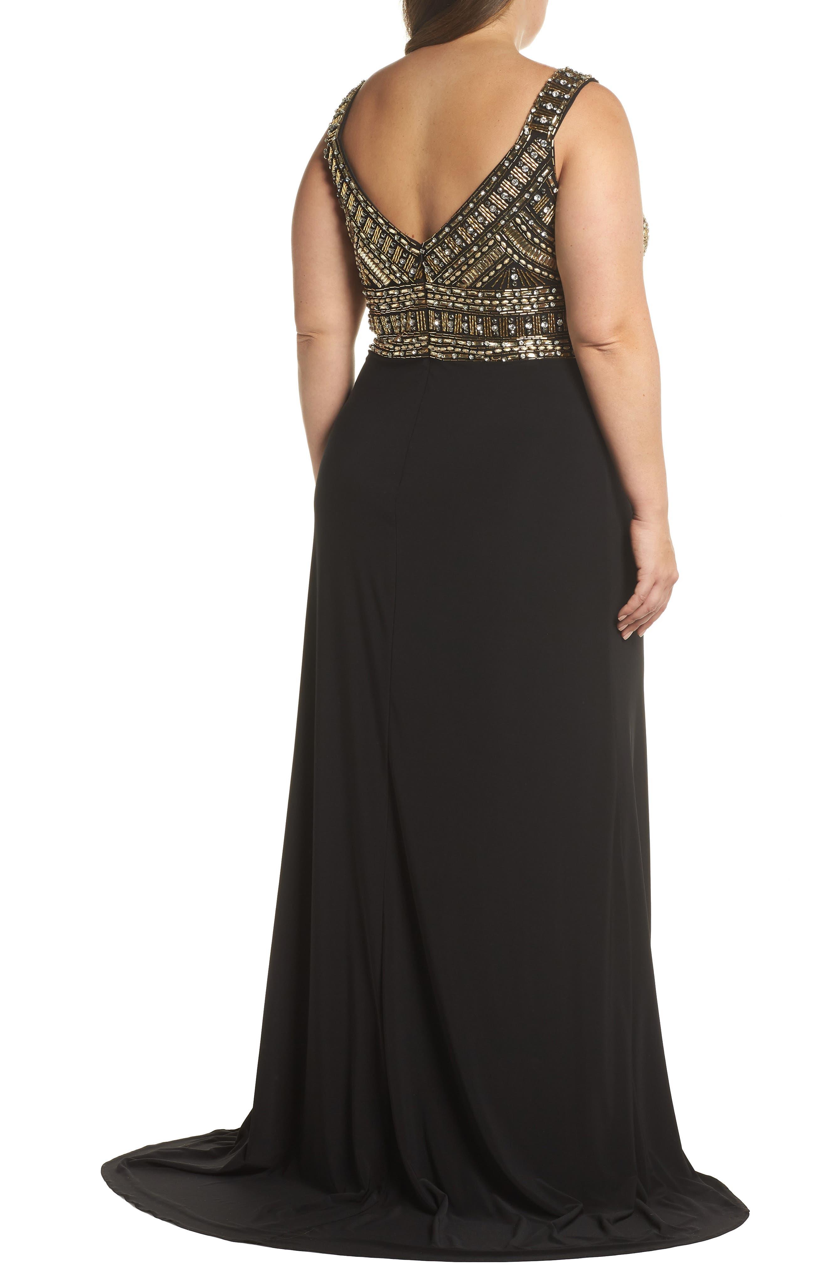 Embellished Gown,                             Alternate thumbnail 2, color,                             BLACK/ GOLD