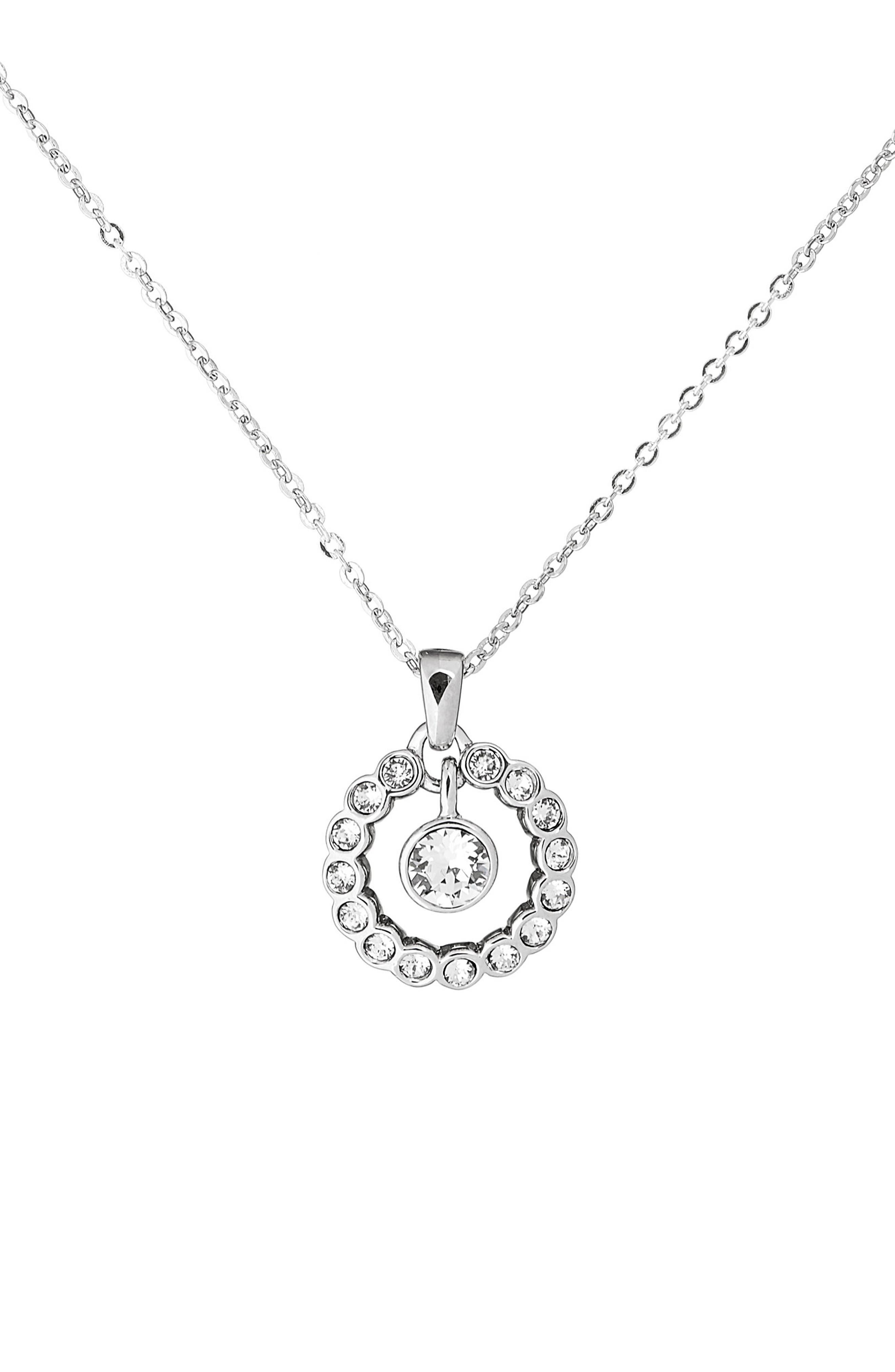 Crystal Circle Pendant Necklace,                             Main thumbnail 2, color,