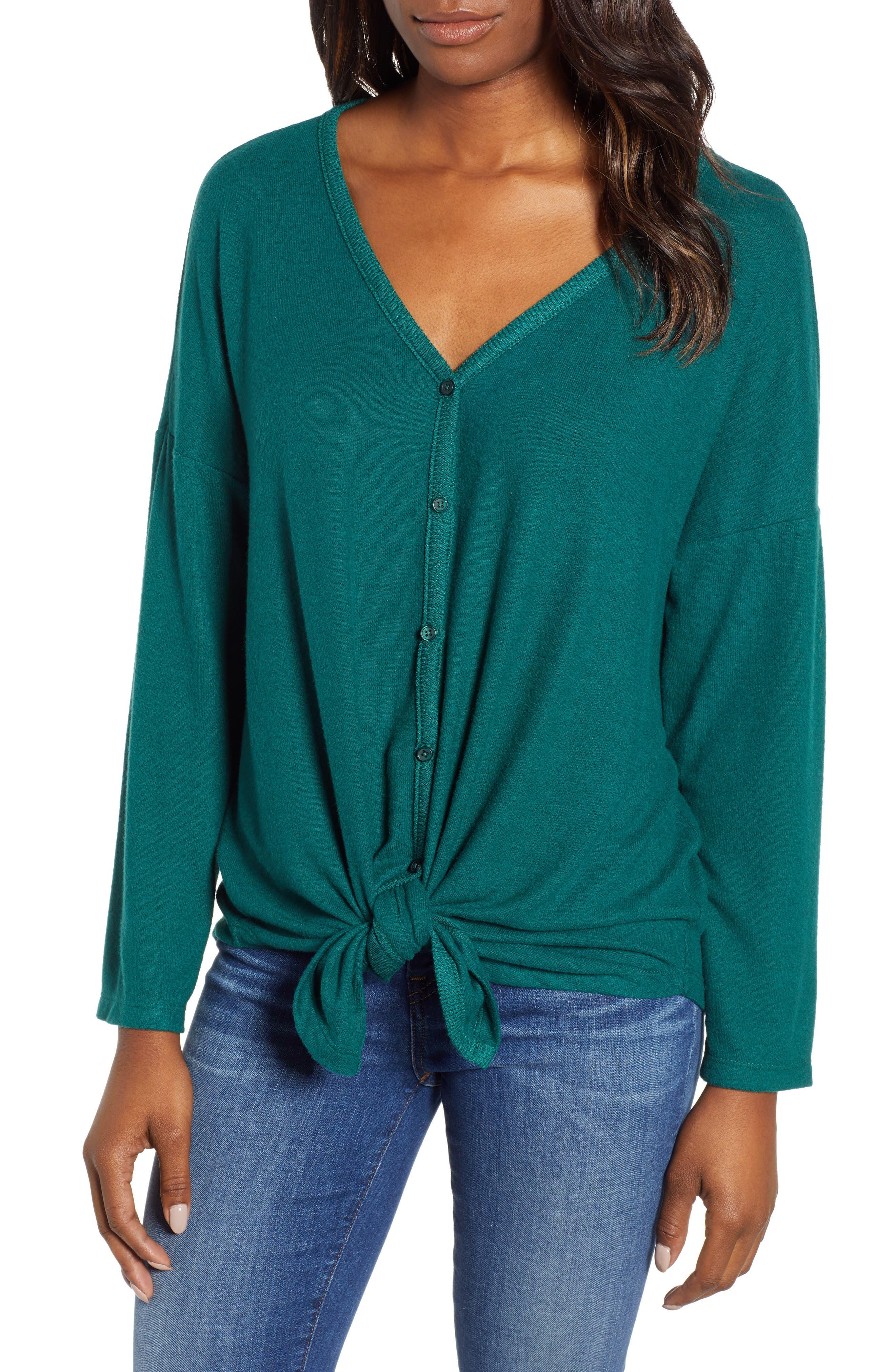 Tie Front Cozy Knit Shirt,                         Main,                         color, 301
