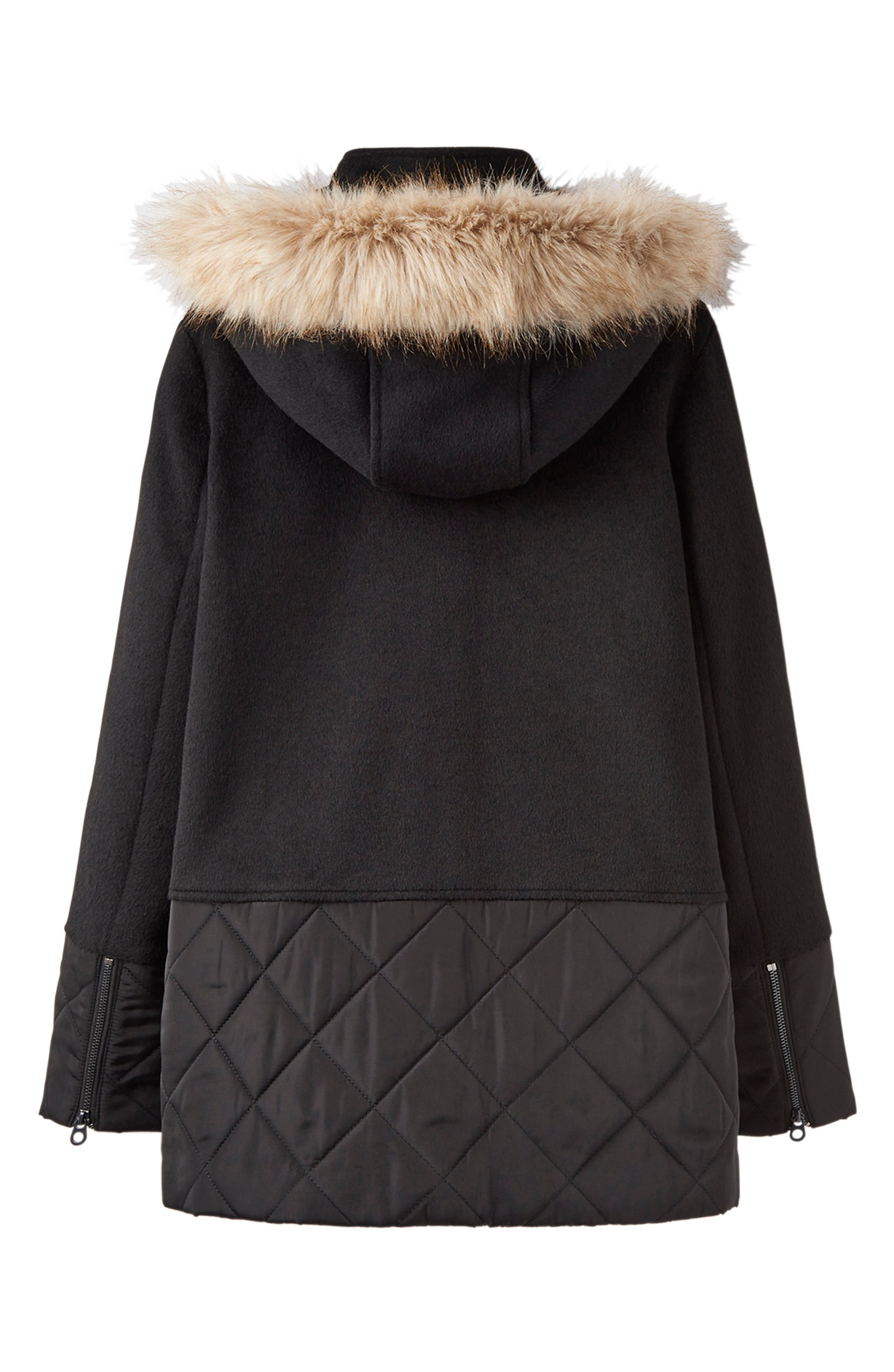 Mixed Texture Hooded Coat with Faux Fur Trim,                             Alternate thumbnail 8, color,                             BLACK
