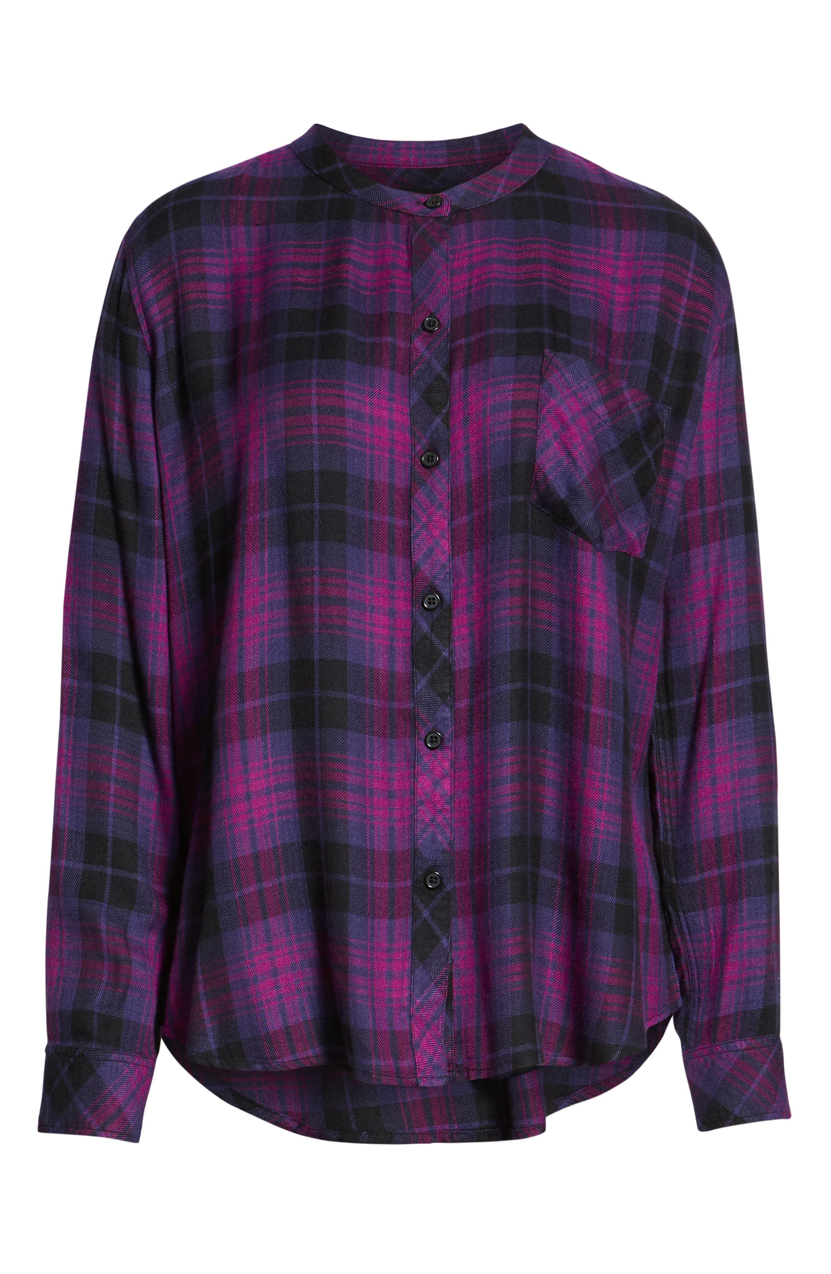 Allison Plaid Shirt,                             Alternate thumbnail 6, color,                             MAGENTA IRIS BLACK