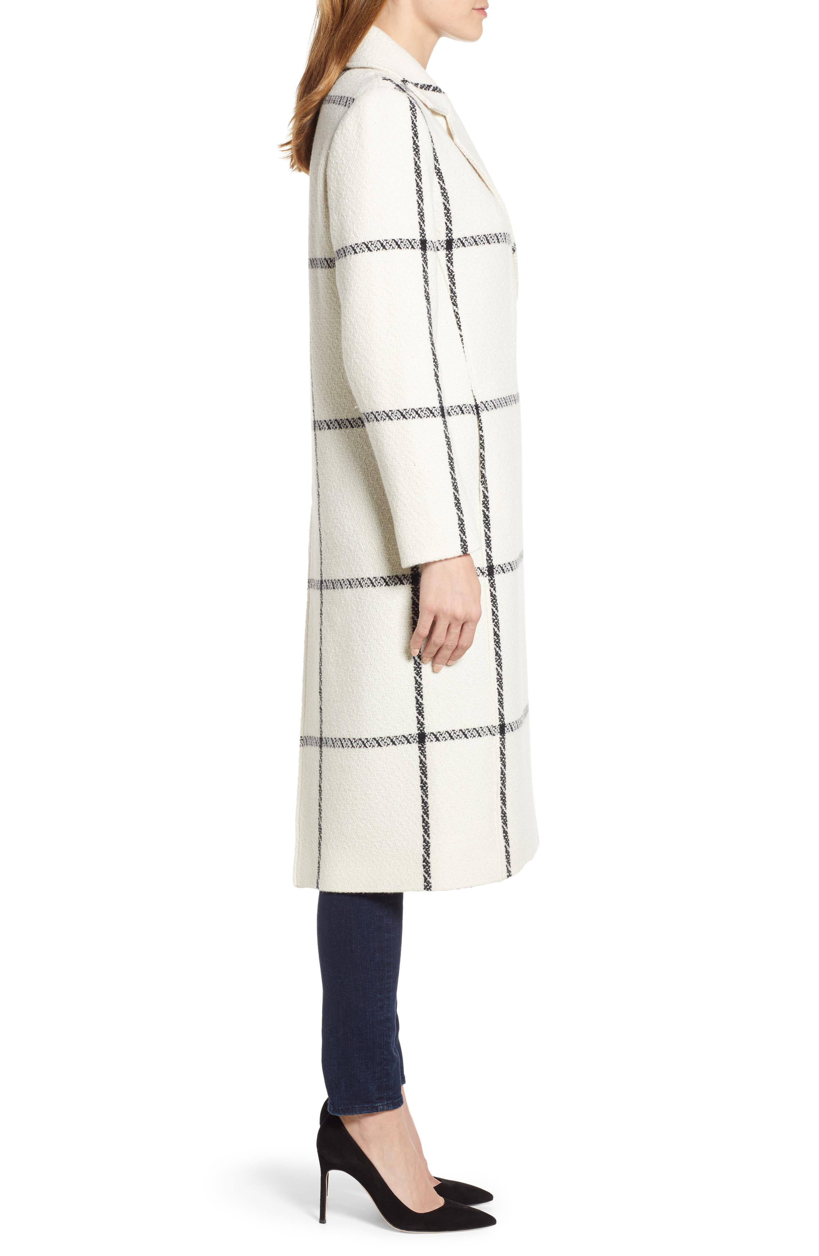 TED BAKER LONDON,                             Soniq Check Wool Blend Long Coat,                             Alternate thumbnail 4, color,                             92-IVORY