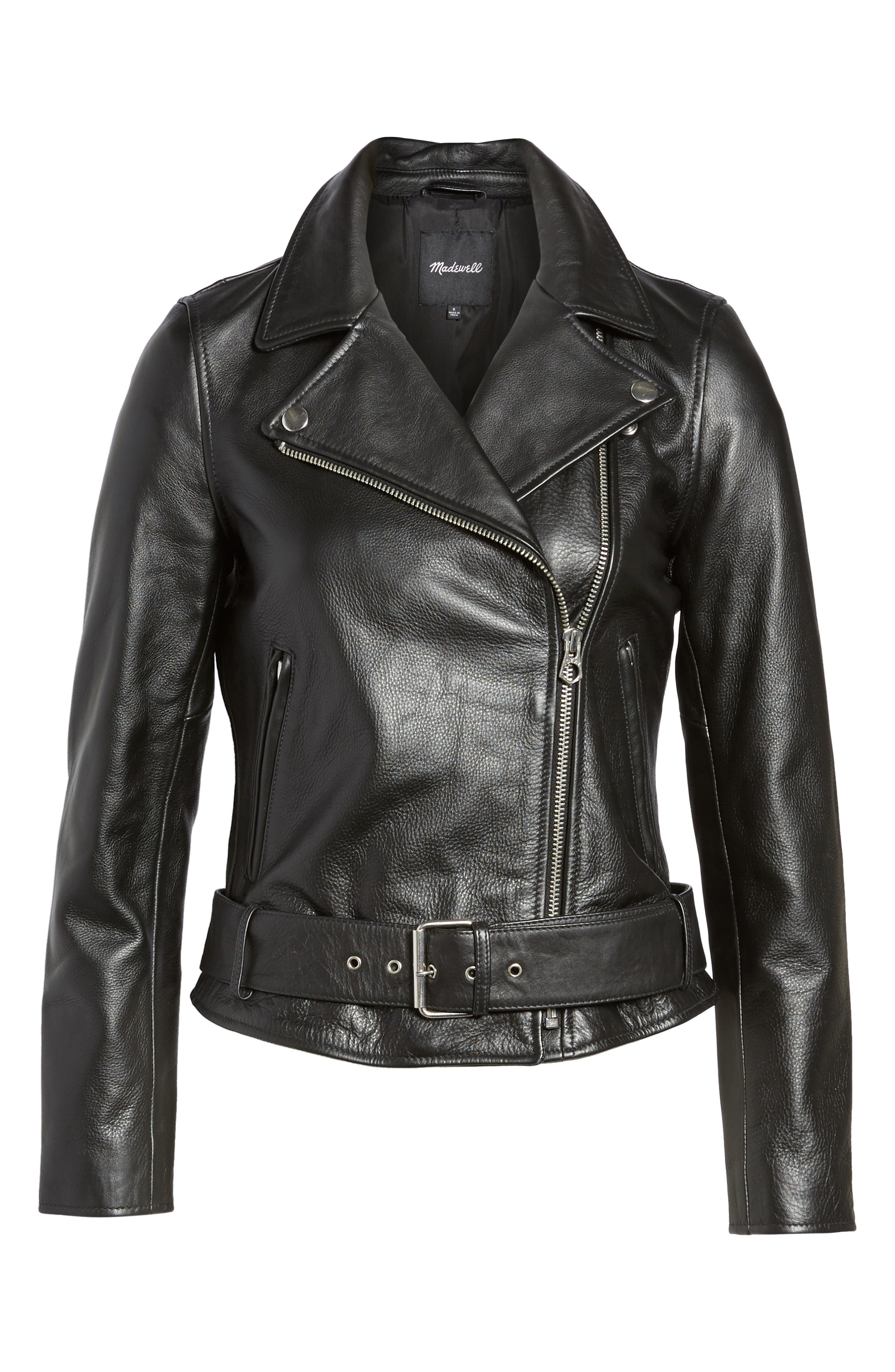 Ultimate Leather Jacket,                             Alternate thumbnail 5, color,                             TRUE BLACK
