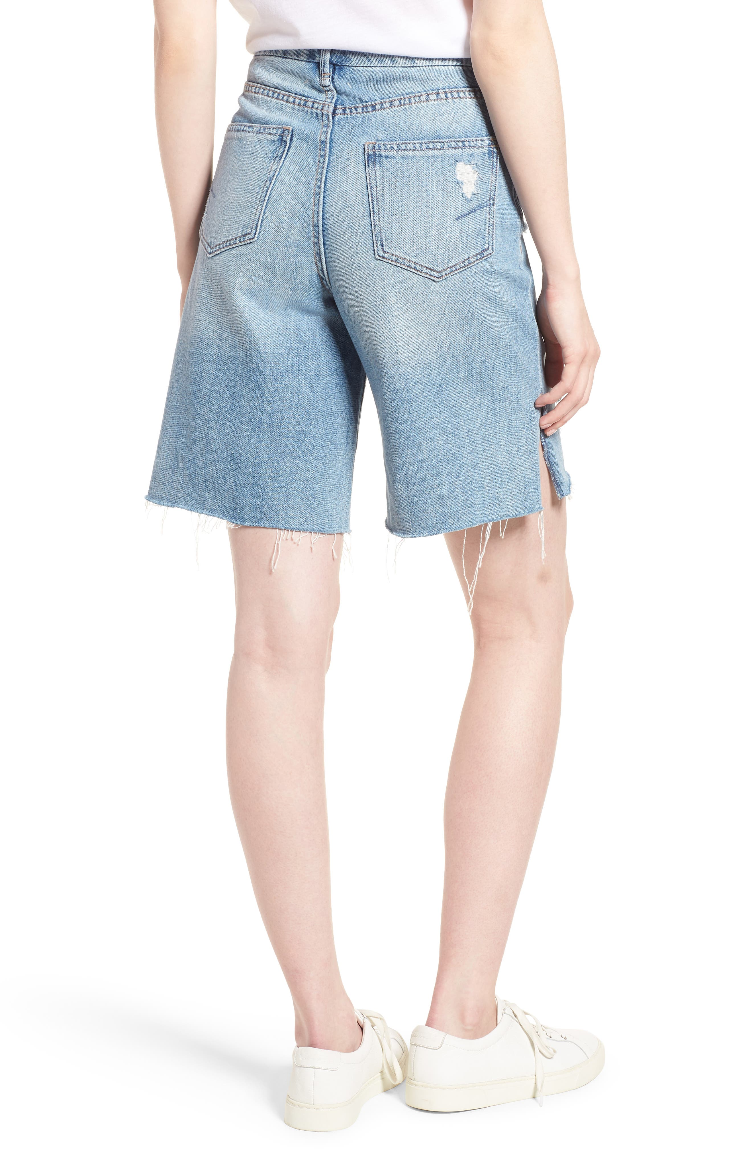 Wylie High Rise Distressed Bermuda Denim Shorts,                             Alternate thumbnail 2, color,                             VARNISH