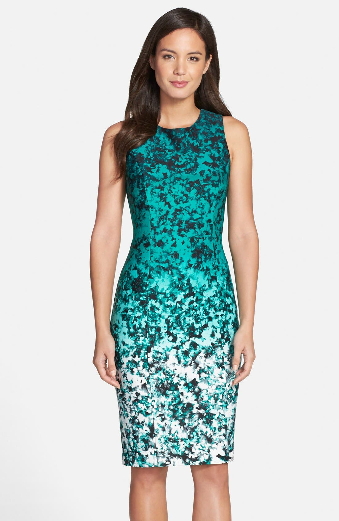 Ombré Floral Print Sleeveless Sheath Dress,                         Main,                         color, 310