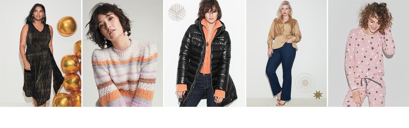 Women's dresses, sweaters, coats, tops and sleepwear.