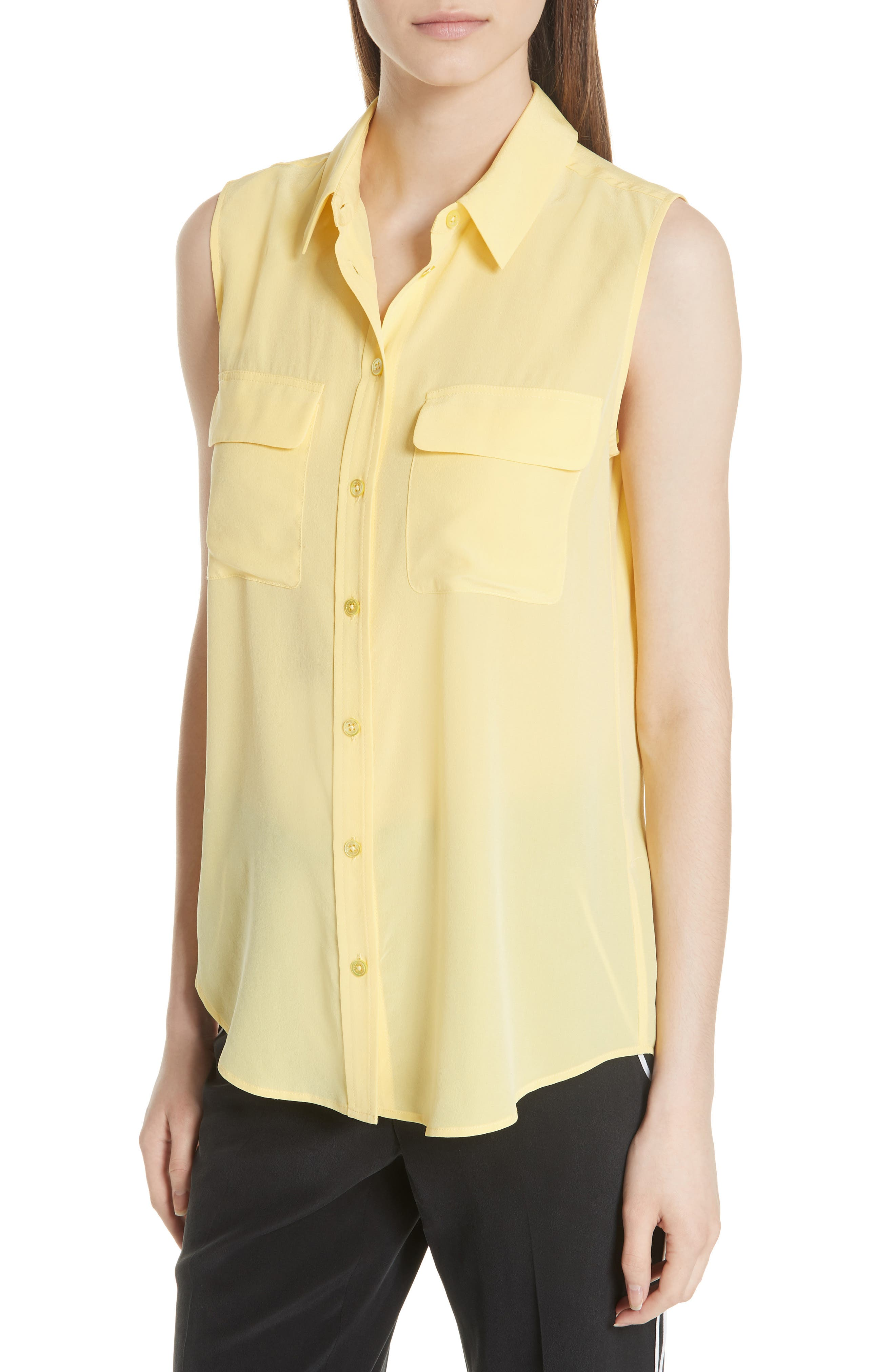 'Slim Signature' Sleeveless Silk Shirt,                             Alternate thumbnail 146, color,