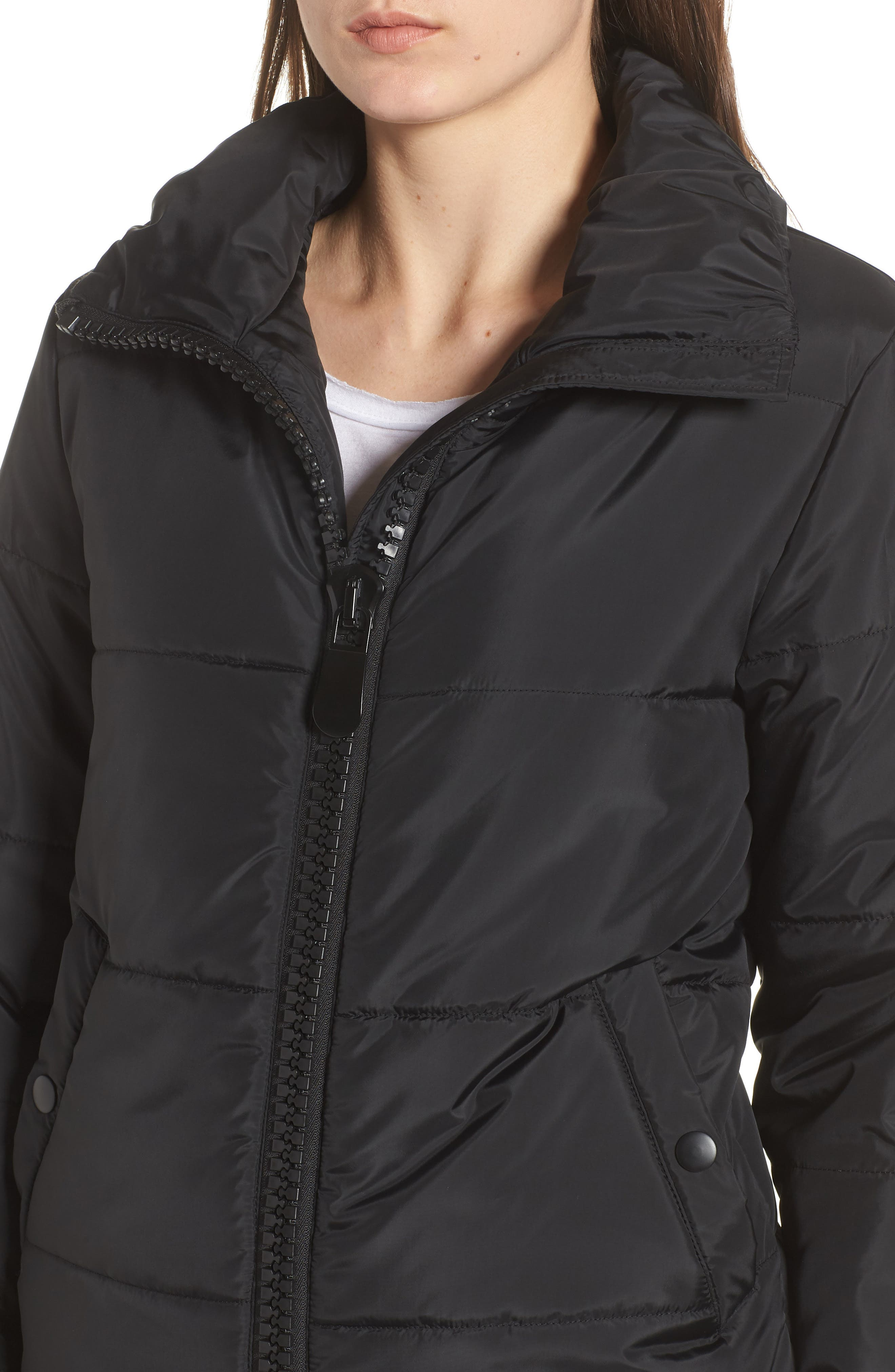 Rail Quilted Puffer Jacket,                             Alternate thumbnail 4, color,                             BLACK