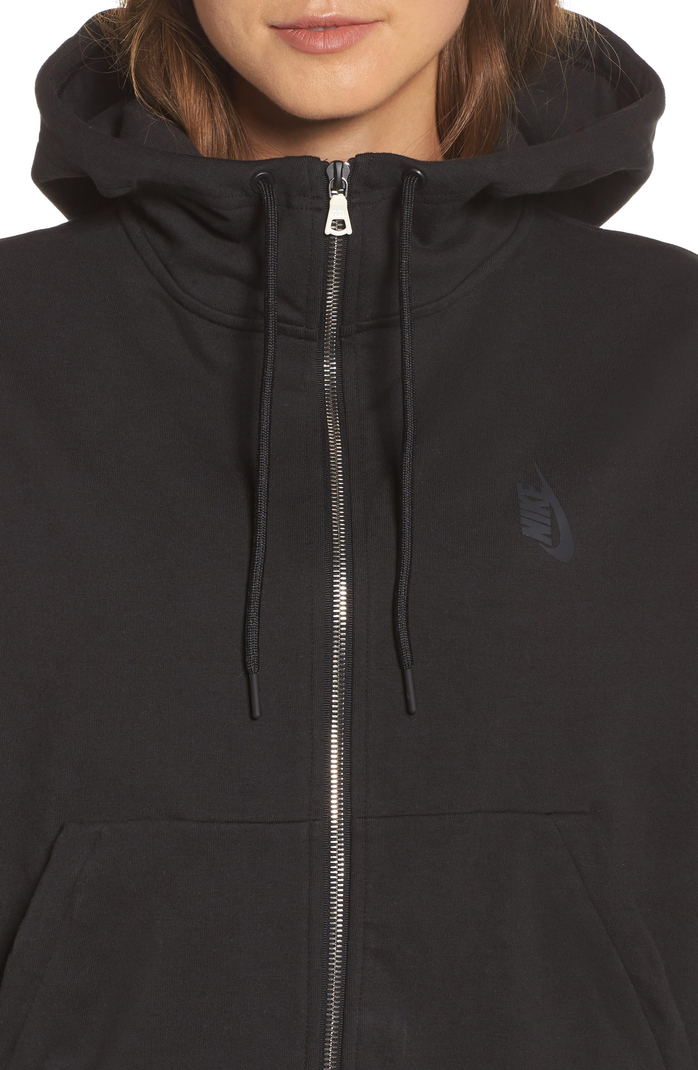 NikeLab Essentials Women's Zip Hoodie,                             Alternate thumbnail 4, color,                             BLACK/ BLACK