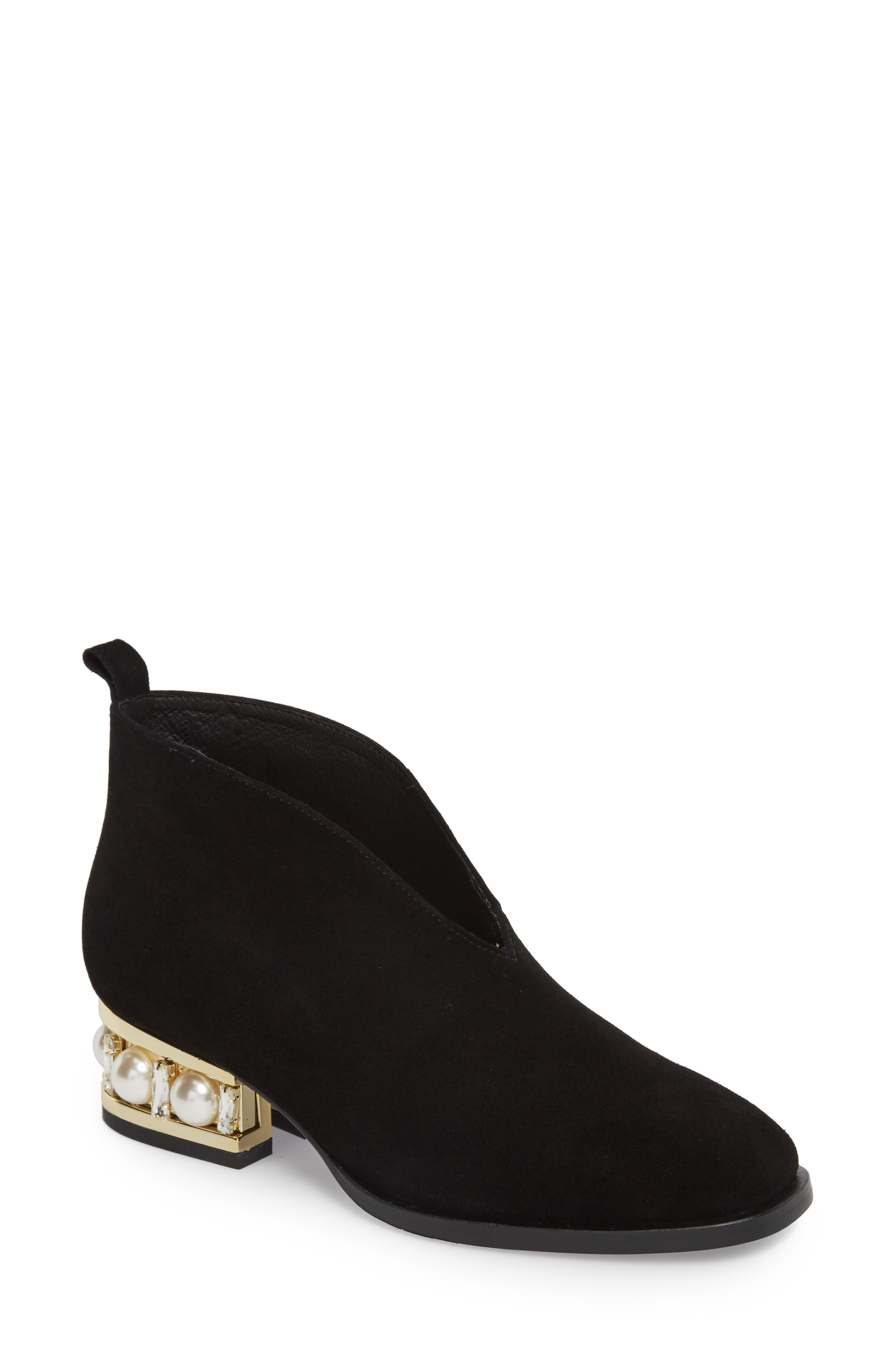 Jerman-VPJ Embellished Bootie,                         Main,                         color, BLACK/ GOLD SUEDE