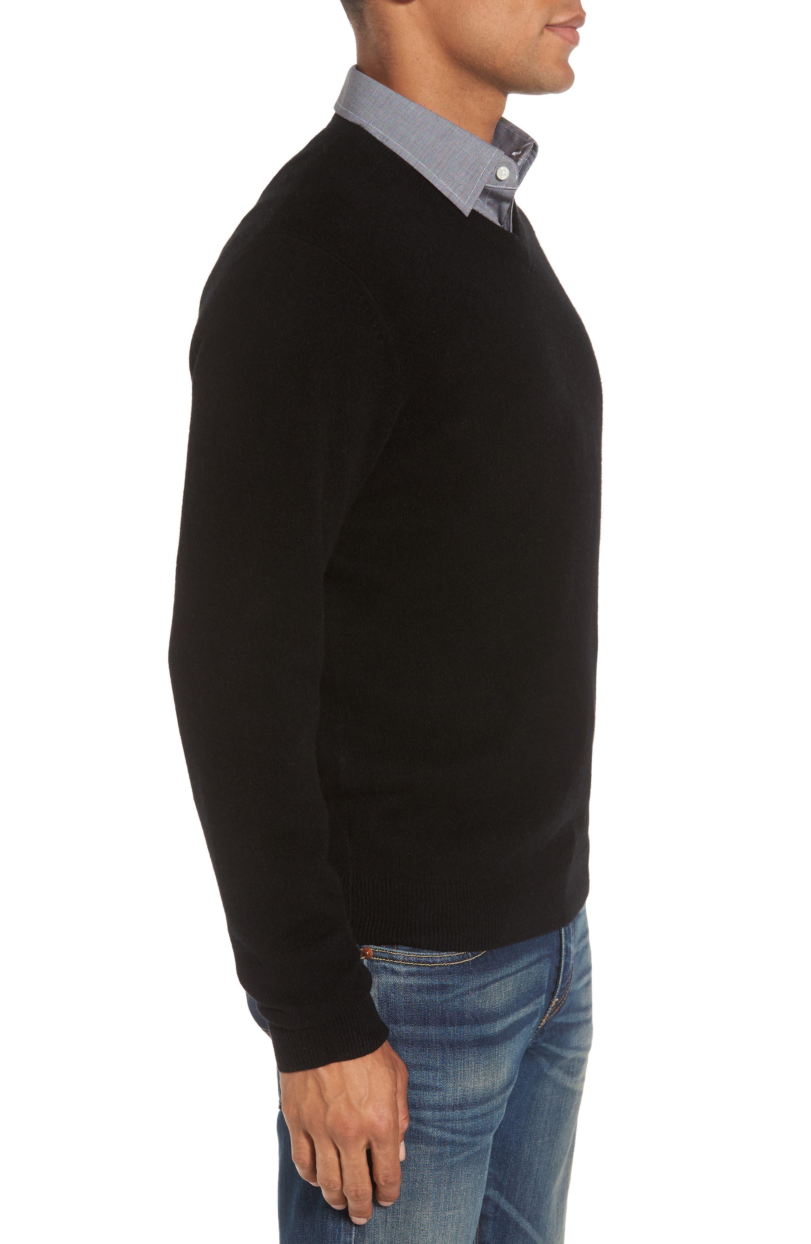 NORDSTROM MEN'S SHOP,                             Cashmere V-Neck Sweater,                             Alternate thumbnail 3, color,                             BLACK CAVIAR