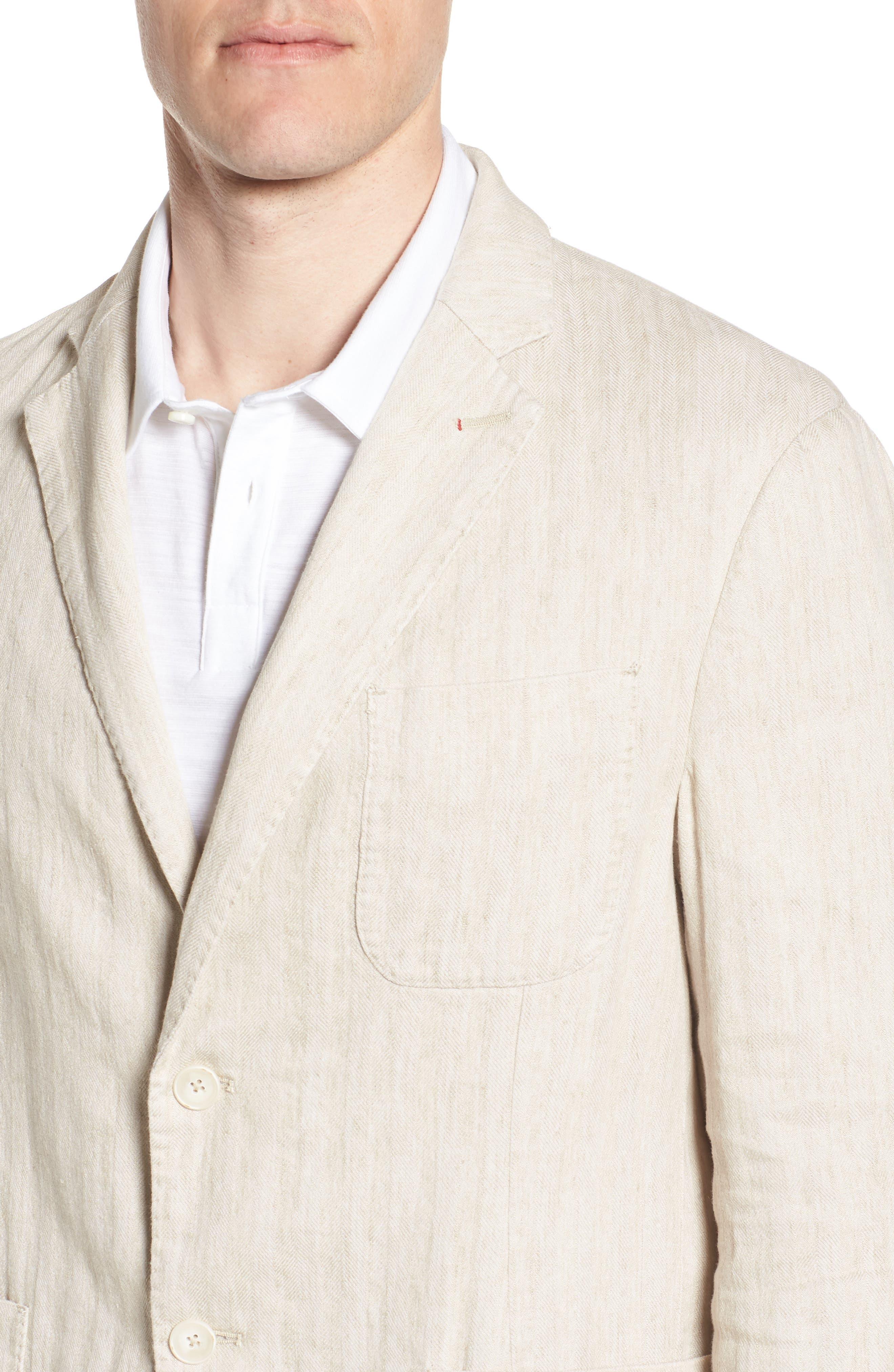 Regular Fit Herringbone Cotton & Linen Blazer,                             Alternate thumbnail 4, color,                             200