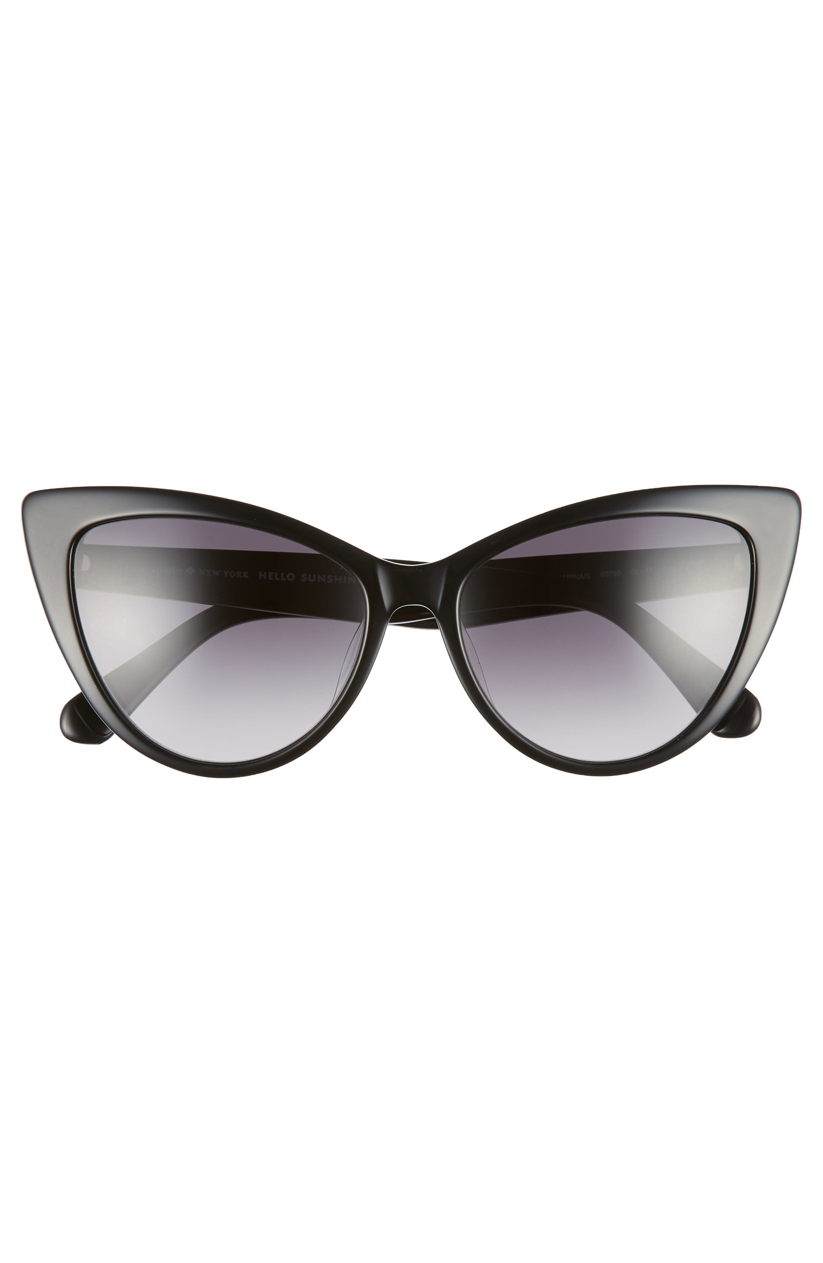 karina 56mm cat eye sunglasses,                             Alternate thumbnail 3, color,                             BLACK
