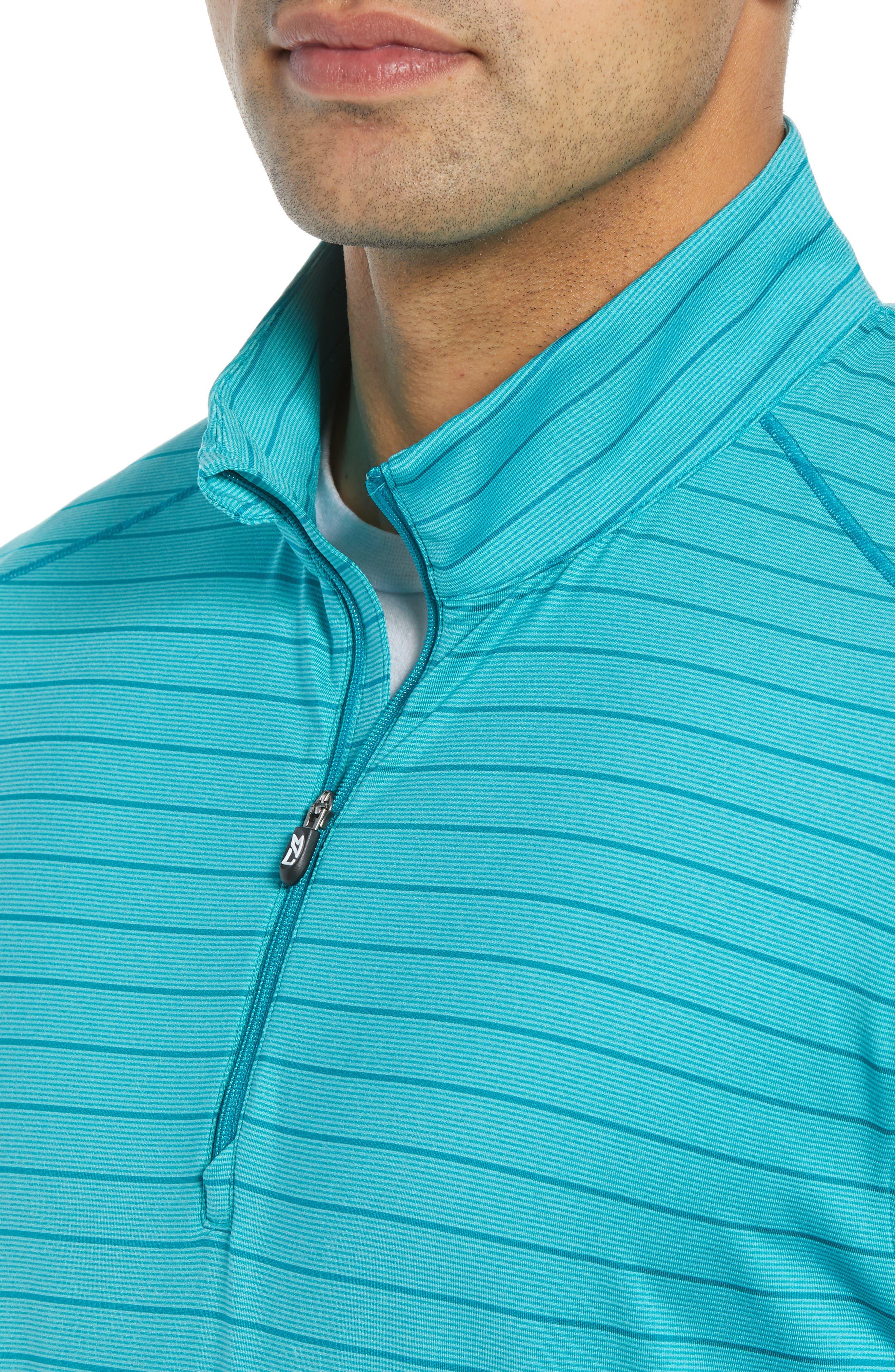 Holman Stripe Half Zip Pullover,                             Alternate thumbnail 4, color,                             AQUATIC HEATHER