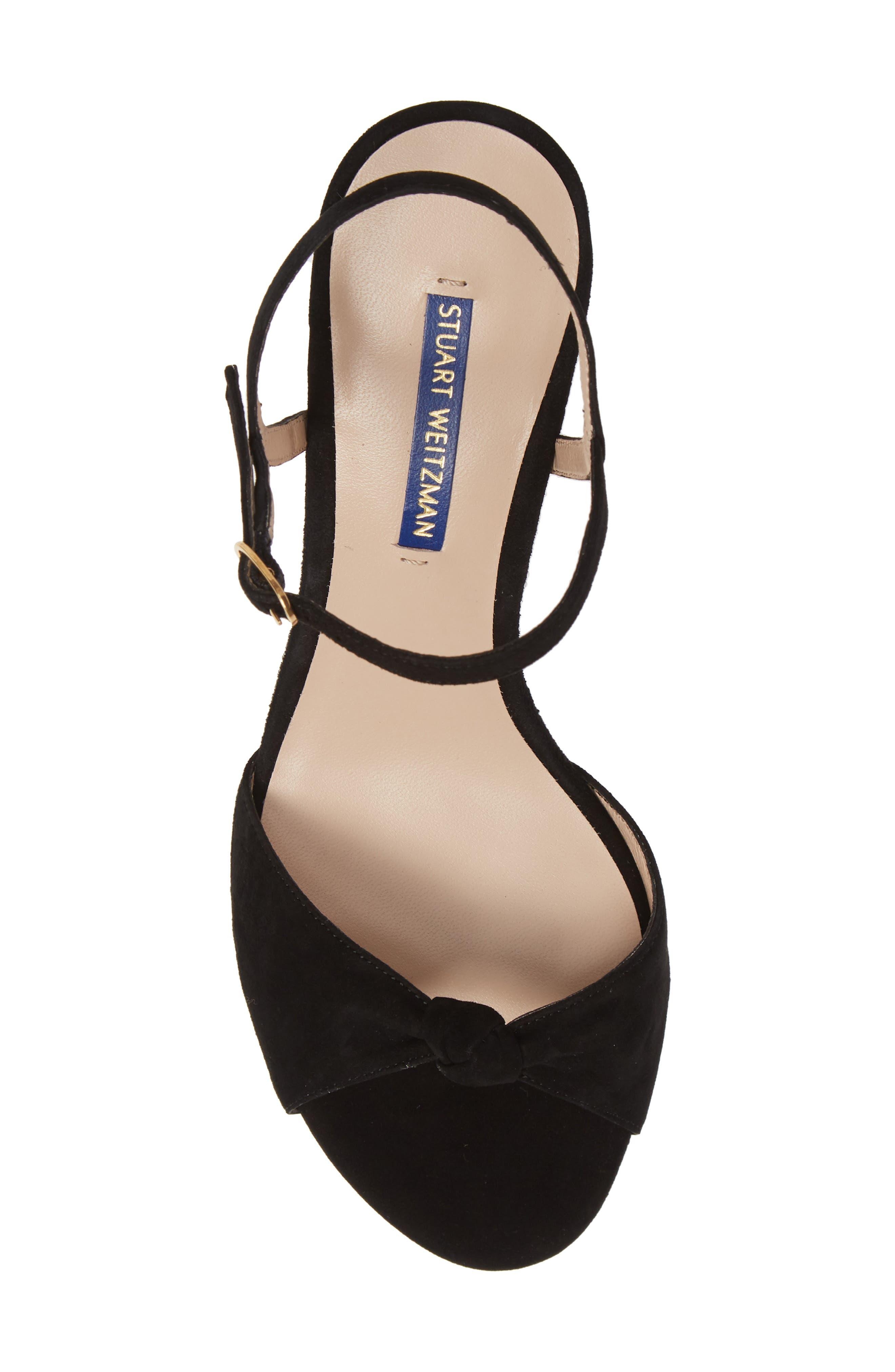 STUART WEITZMAN,                             Gloria Quarter Strap Sandal,                             Alternate thumbnail 5, color,                             BLACK SUEDE
