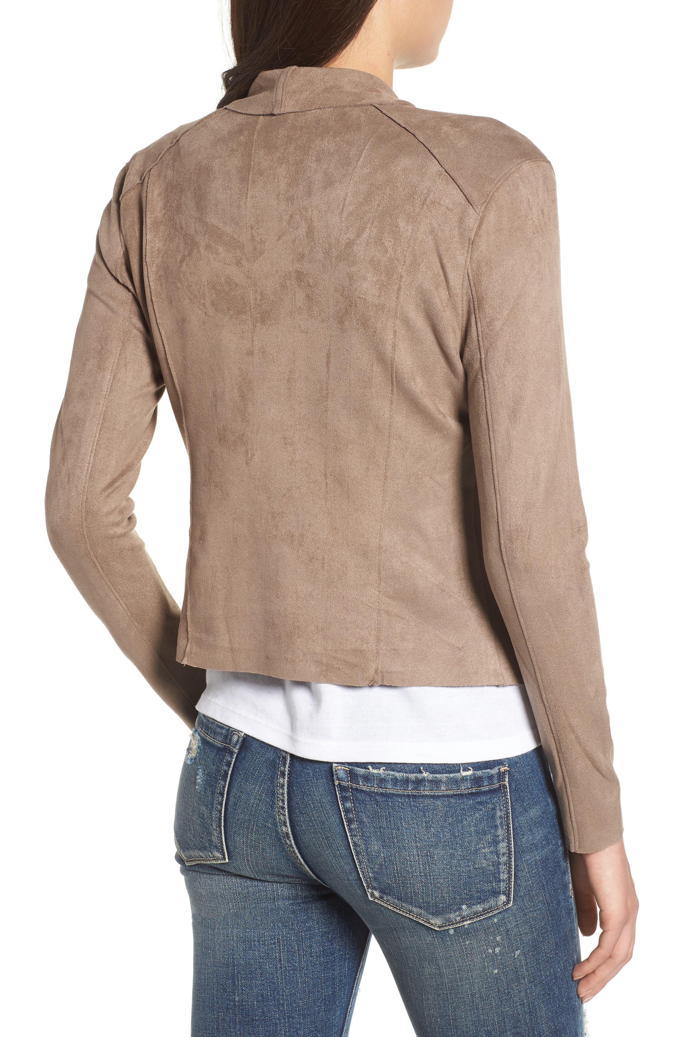 Drape Front Faux Suede Jacket,                             Alternate thumbnail 2, color,                             MT RUSHMORE