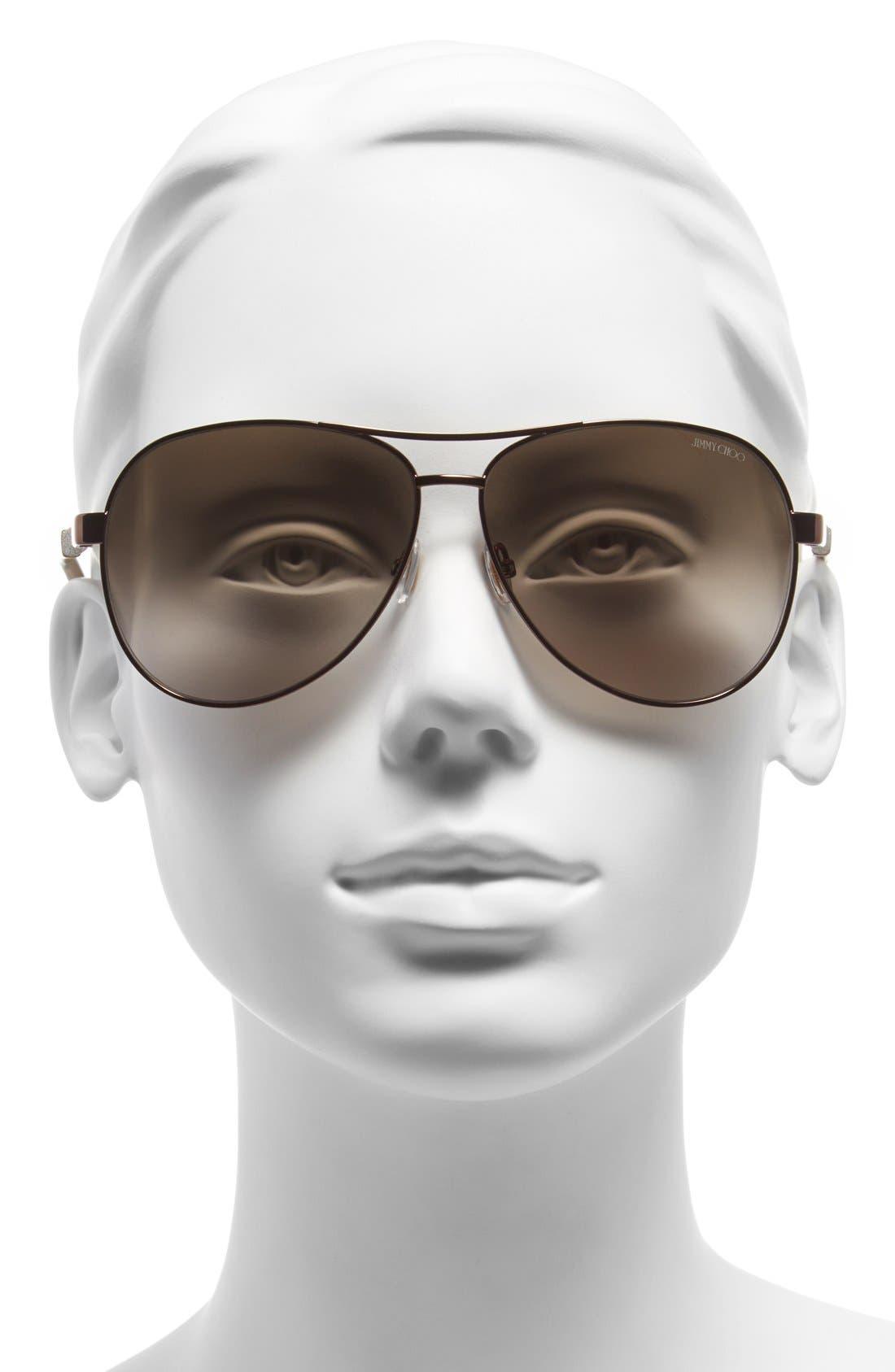 61mm Aviator Sunglasses,                             Alternate thumbnail 4, color,