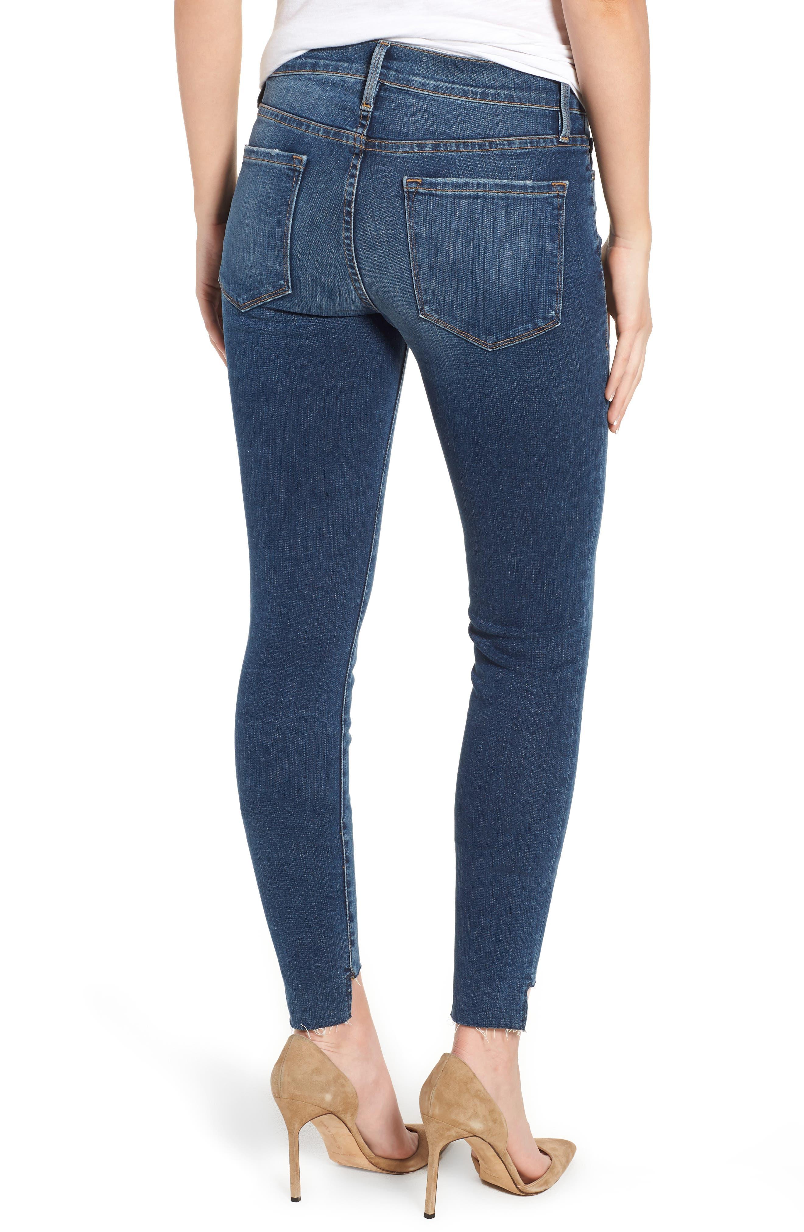 Le Skinny de Jeanne Raw Step Hem Skinny Jeans,                             Alternate thumbnail 2, color,                             WOODBINE