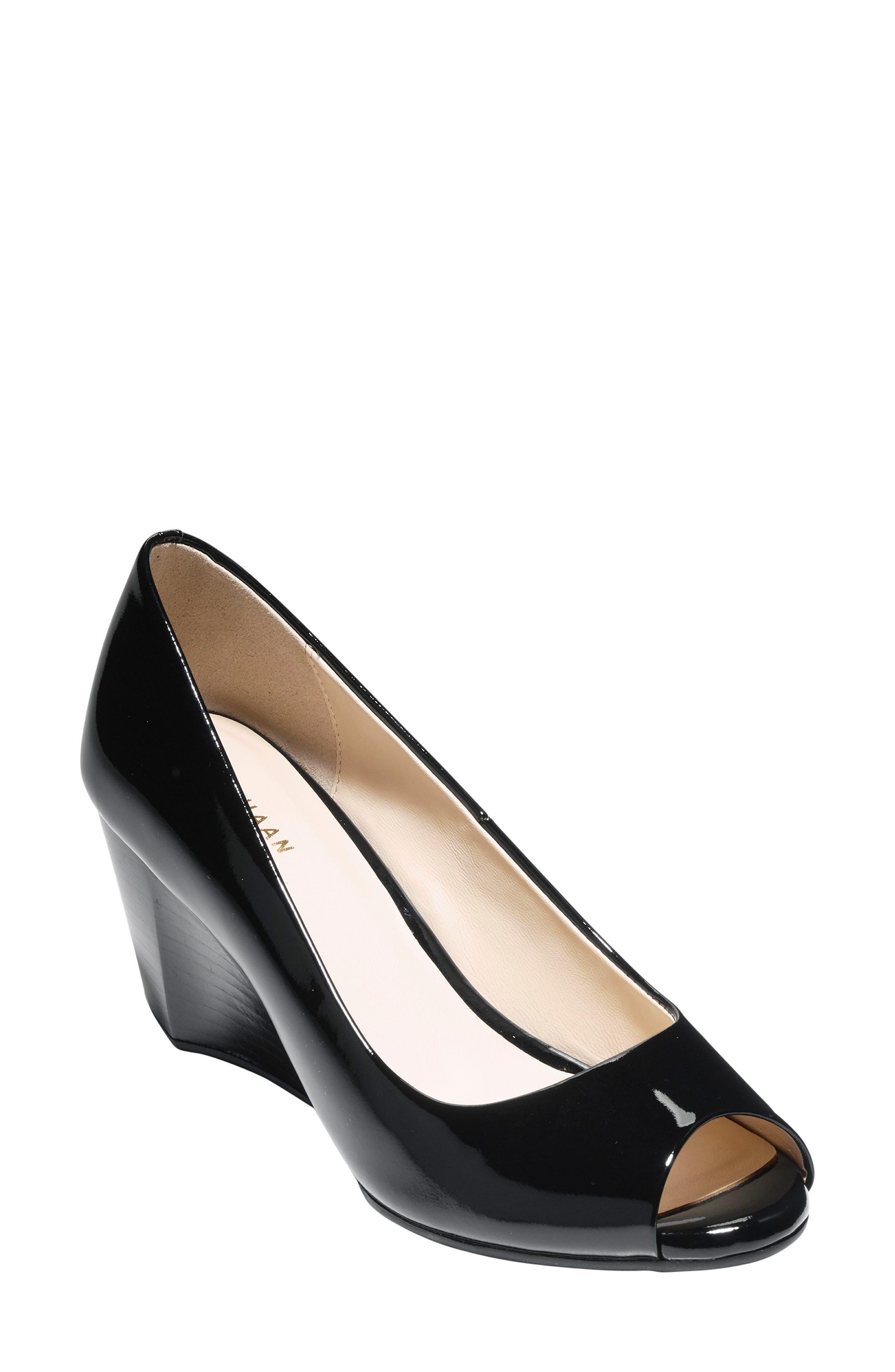 Sadie Patent Leather Peep Toe Wedge Pumps in Black