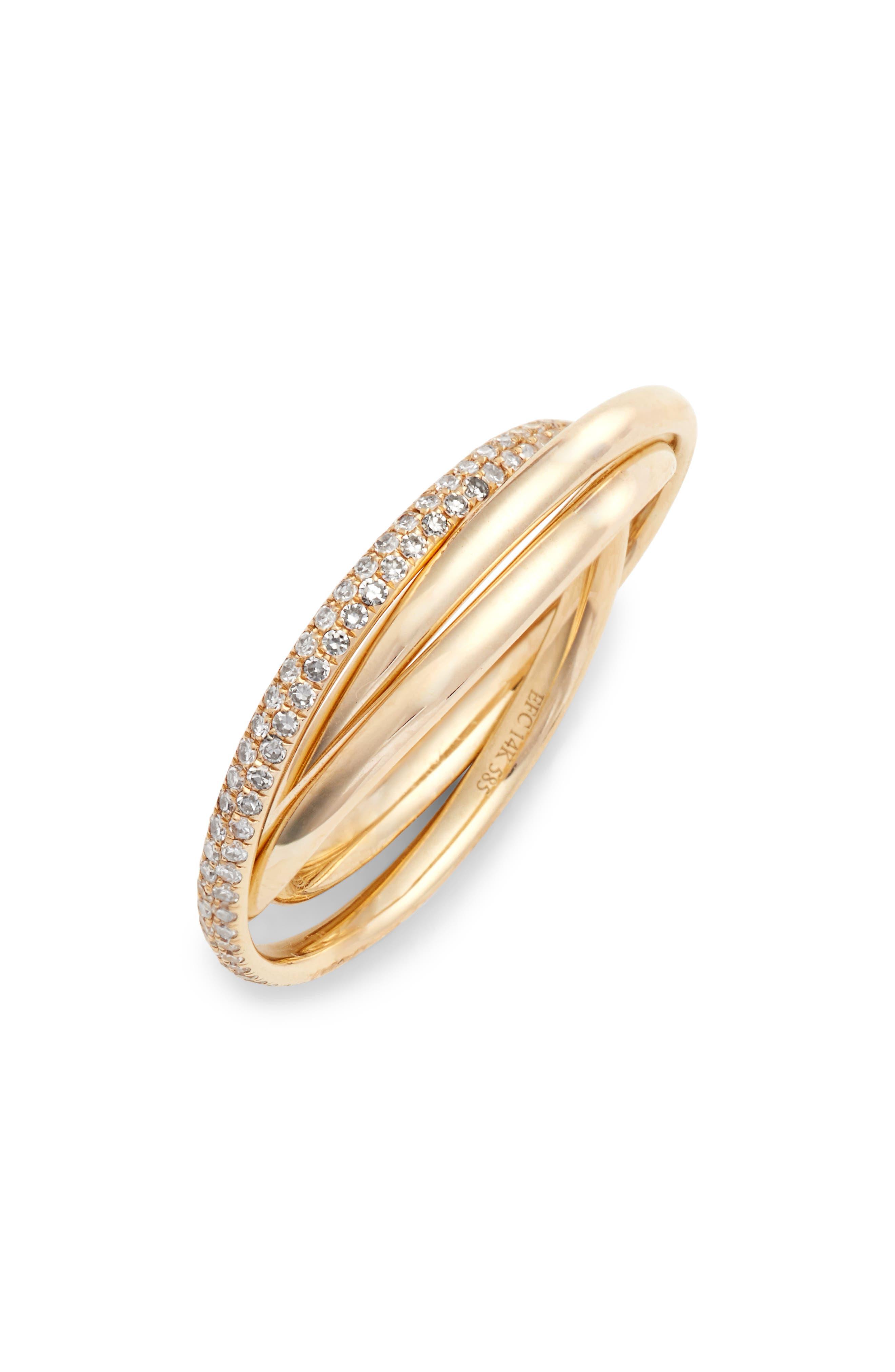 EF COLLECTION,                             Jumbo Interlocking Triple Ring,                             Main thumbnail 1, color,                             YELLOW GOLD