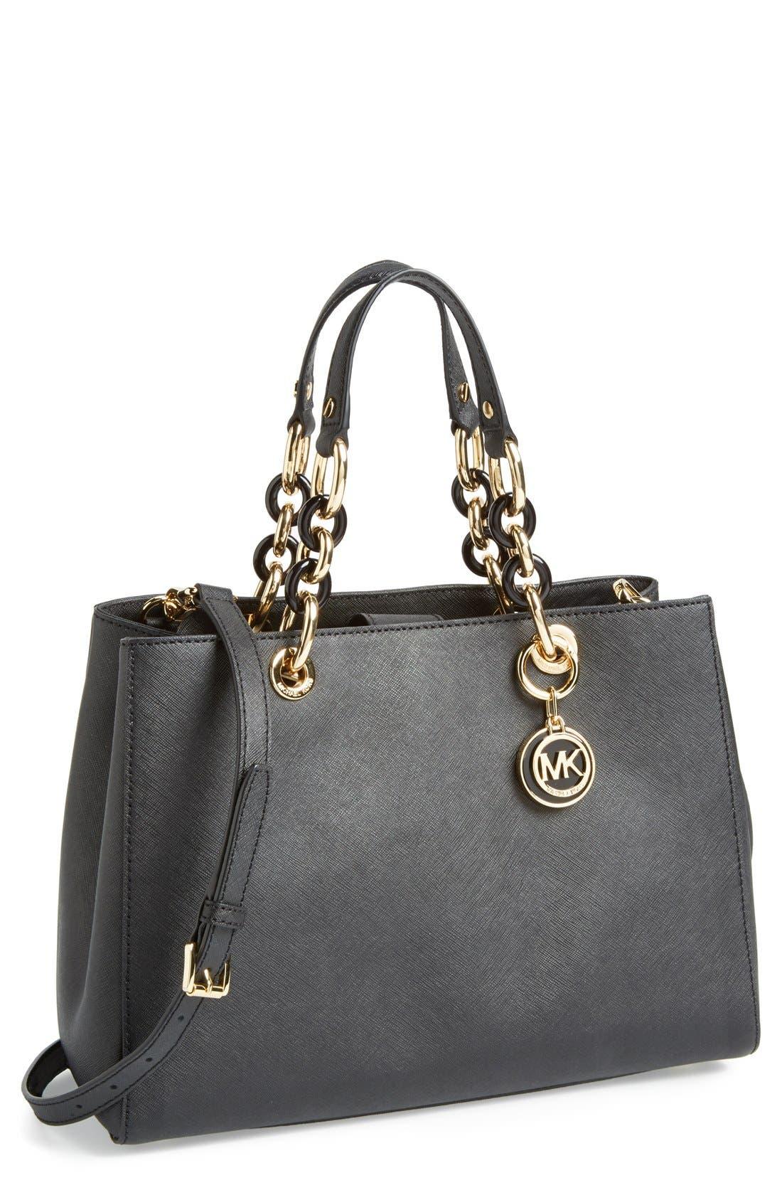 'Cynthia' Saffiano Leather Satchel, Main, color, 001