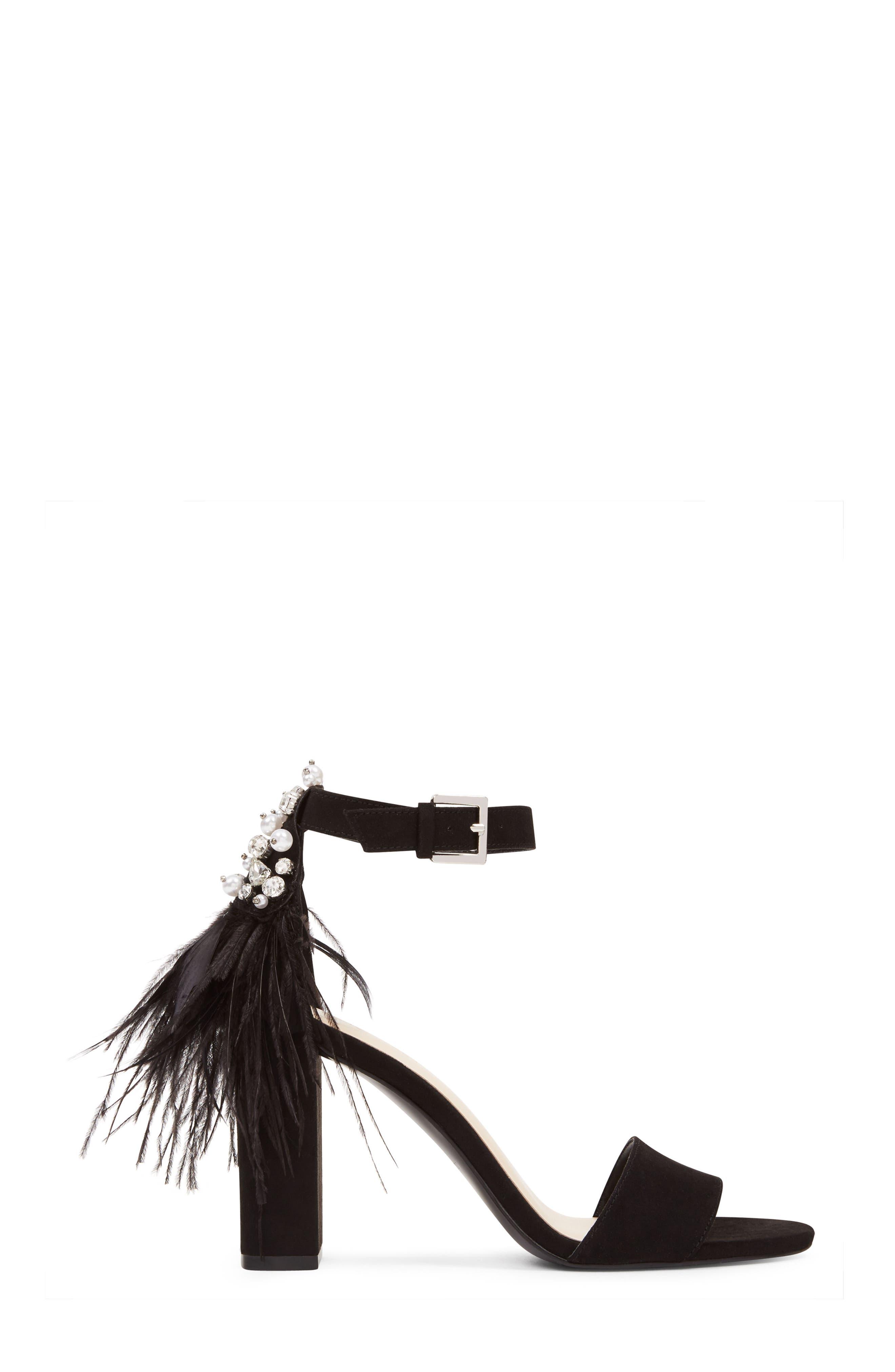 Aaronita Feather Block Heel Sandal,                             Alternate thumbnail 3, color,                             001