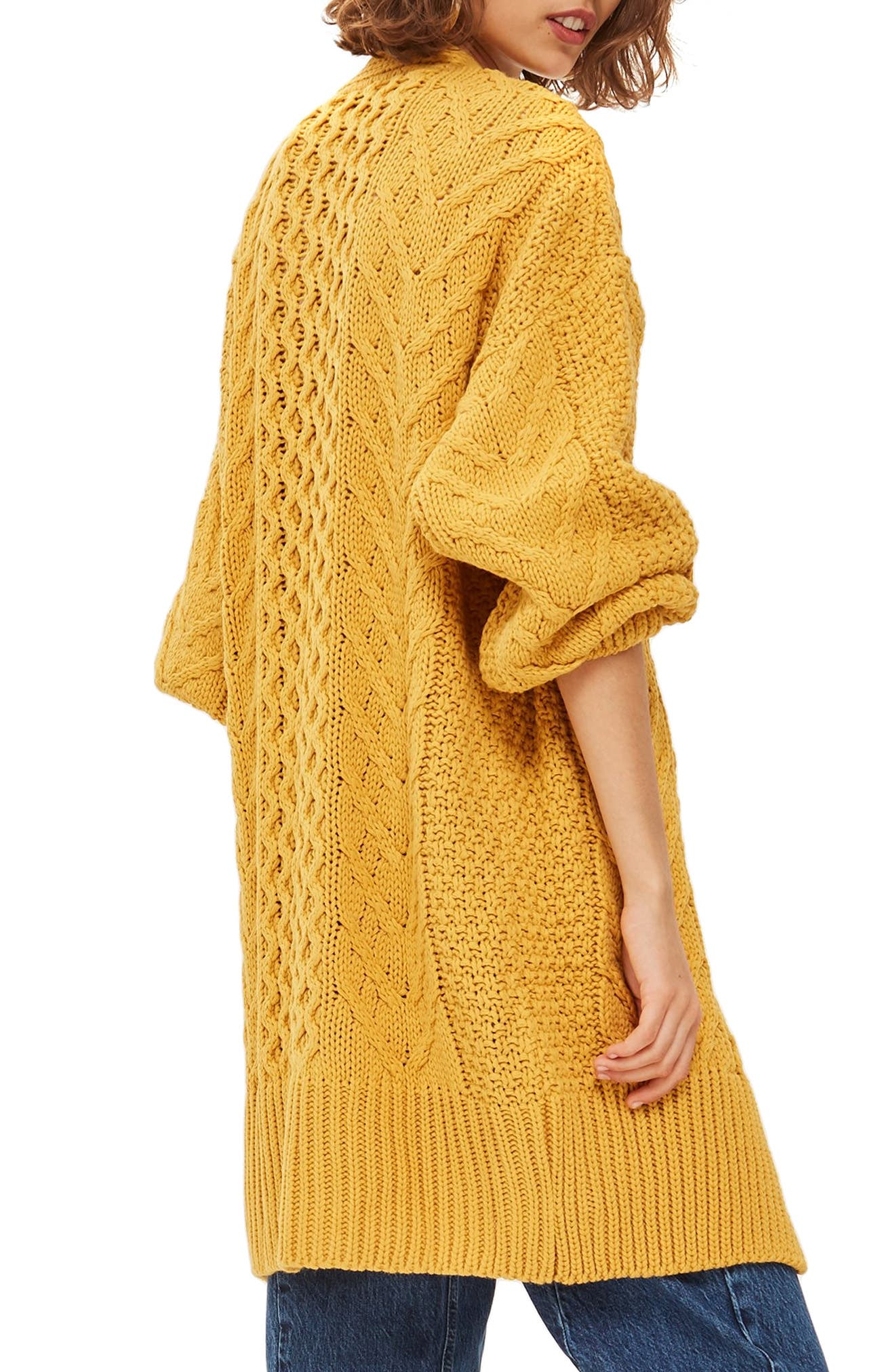 Long Open Front Cardi,                             Alternate thumbnail 3, color,                             MUSTARD
