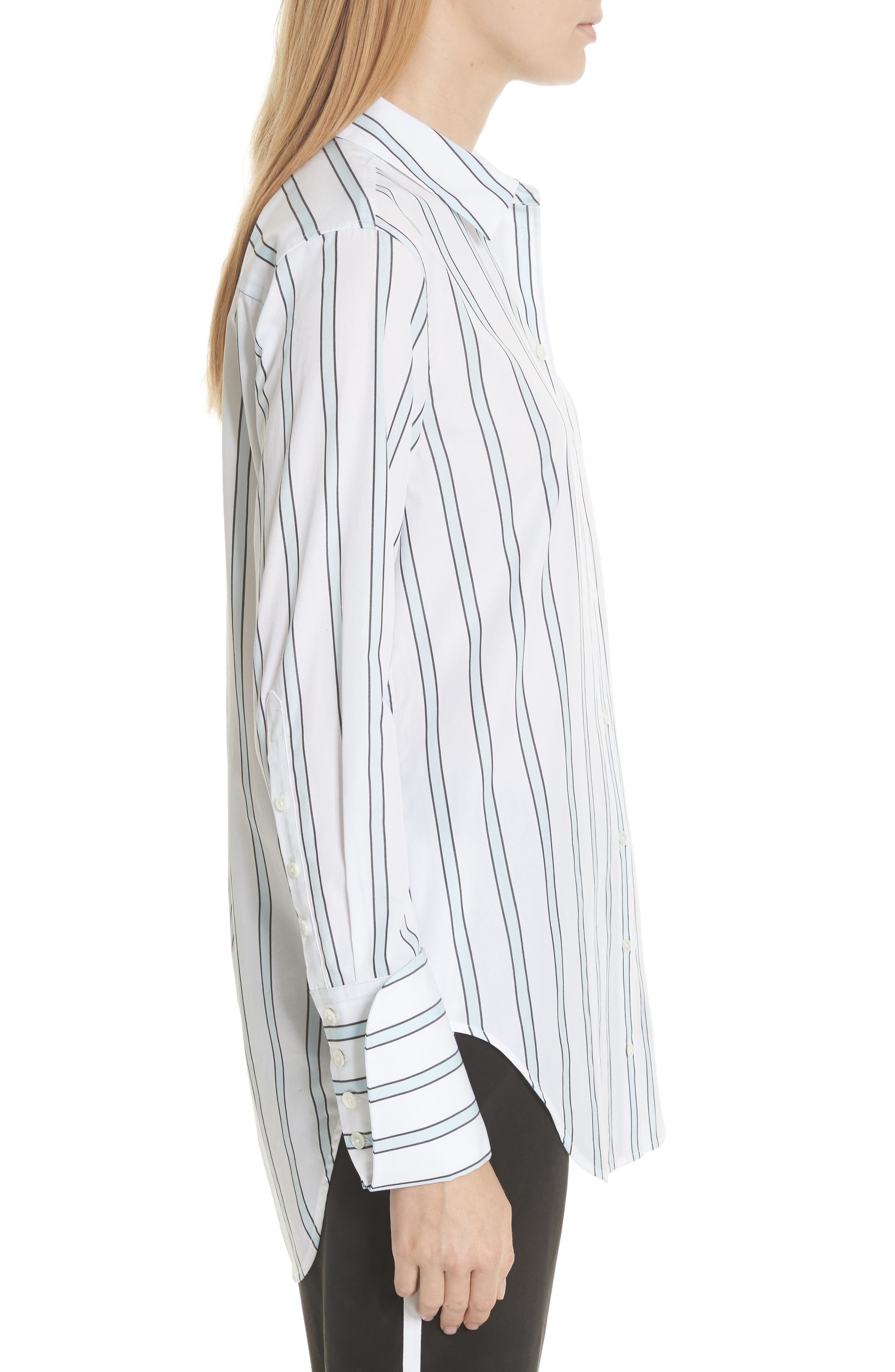 Essential Neopolitan Cuff Stripe Shirt,                             Alternate thumbnail 3, color,                             157