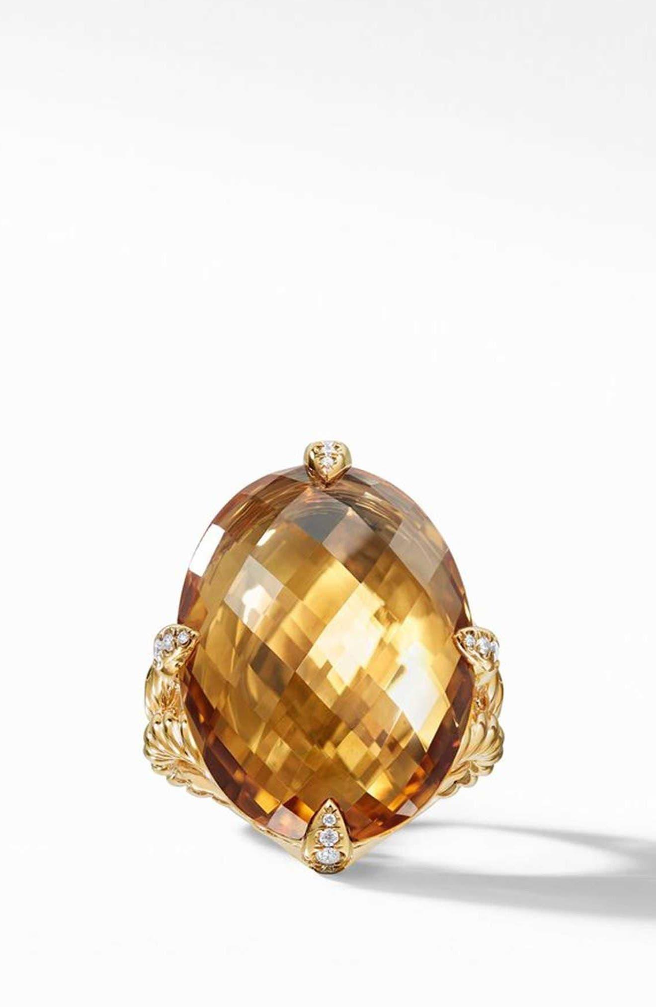 Chatelaine<sup>®</sup> 18k Gold Statement Ring with Honey Quartz & Diamonds,                             Alternate thumbnail 3, color,                             GOLD/ DIAMOND/ HONEY QUARTZ