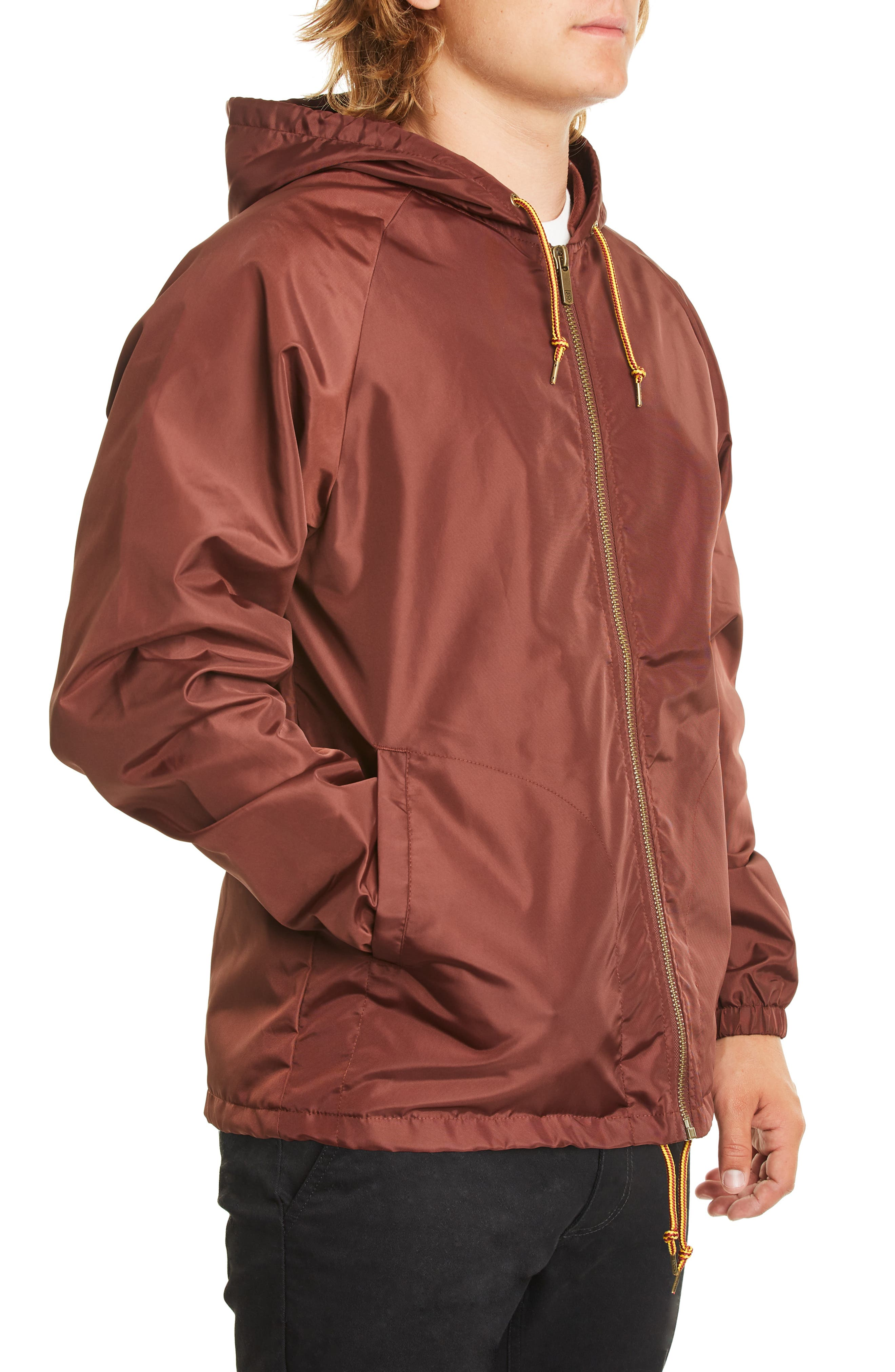 Claxton Water Repellent Hooded Windbreaker,                             Alternate thumbnail 3, color,                             CHESTNUT