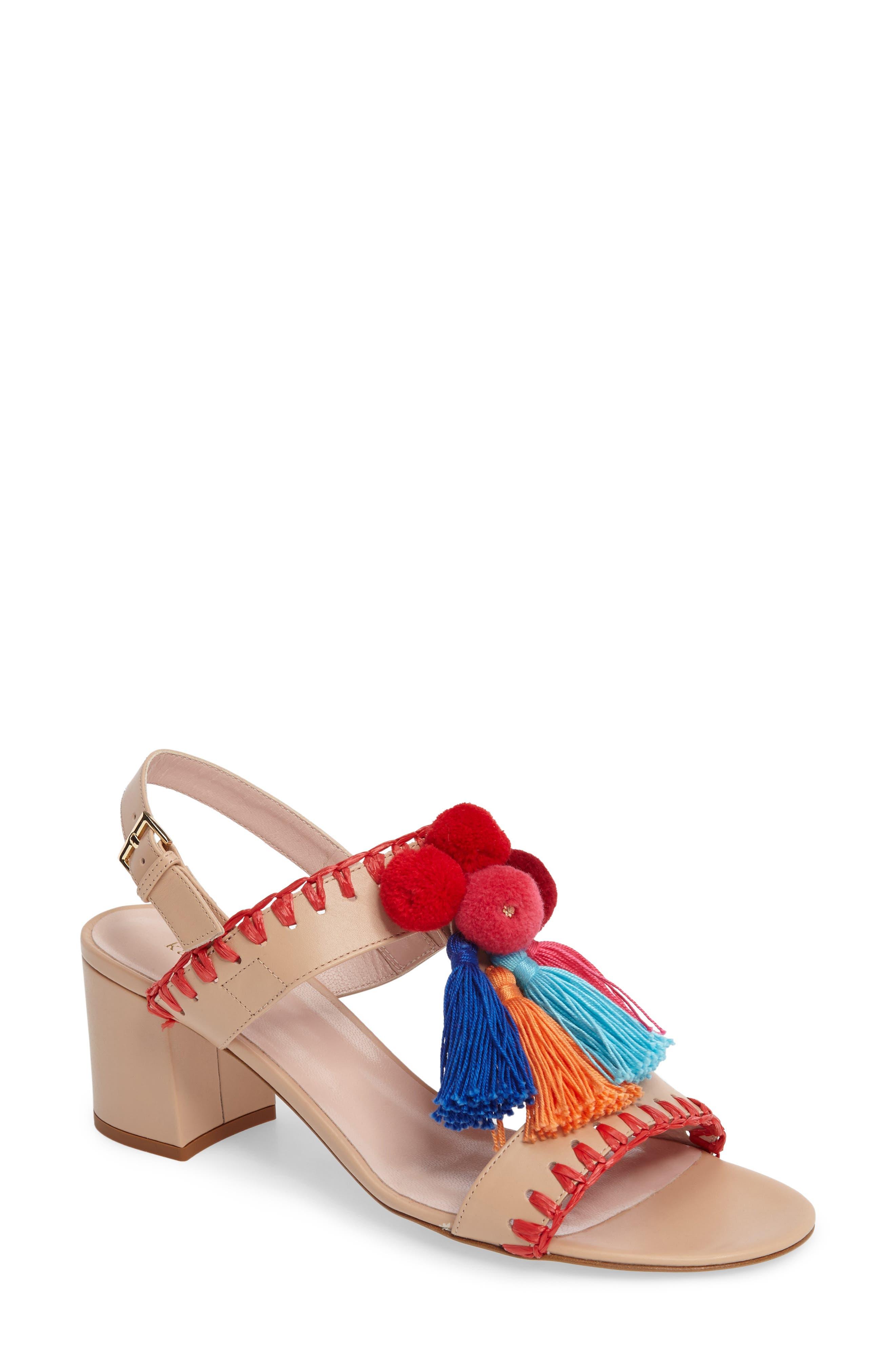 mcdougal pom tassel sandal,                             Main thumbnail 1, color,                             278