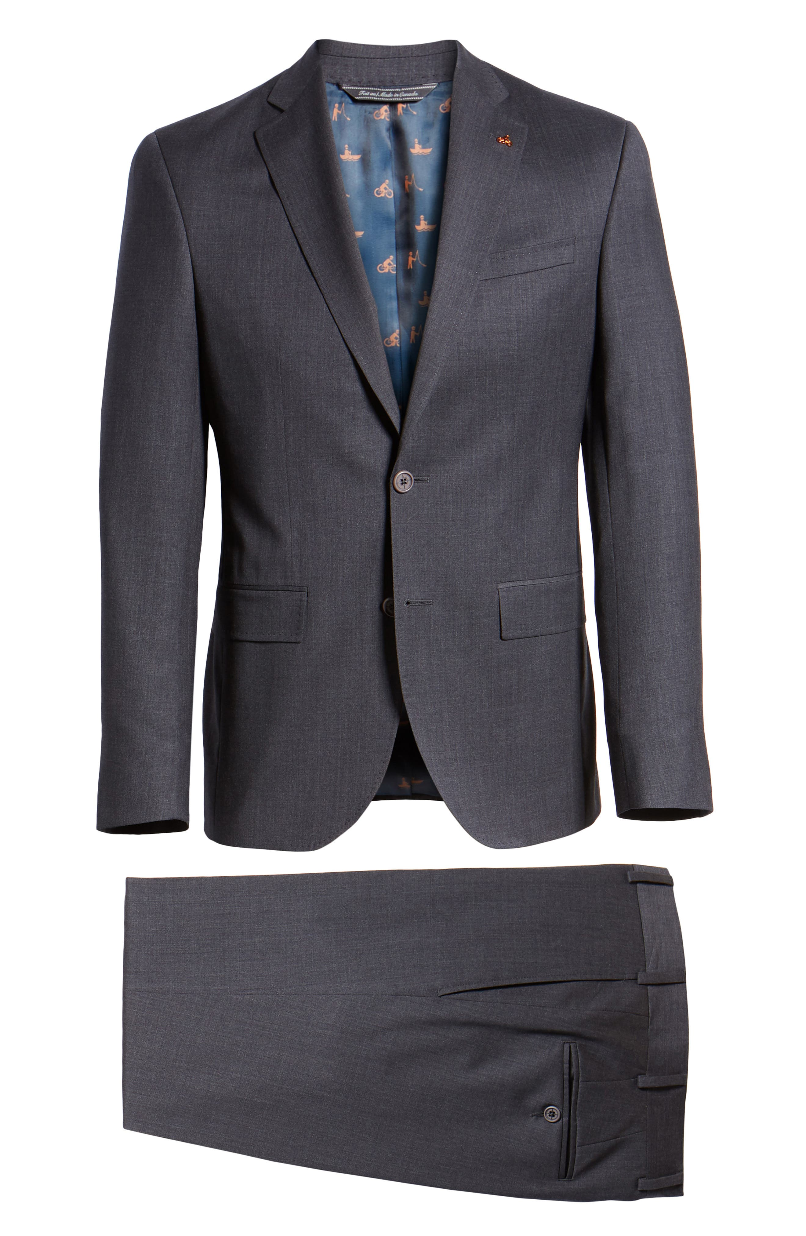 Rove Extra Slim Fit Solid Wool Suit,                             Alternate thumbnail 7, color,                             GREY