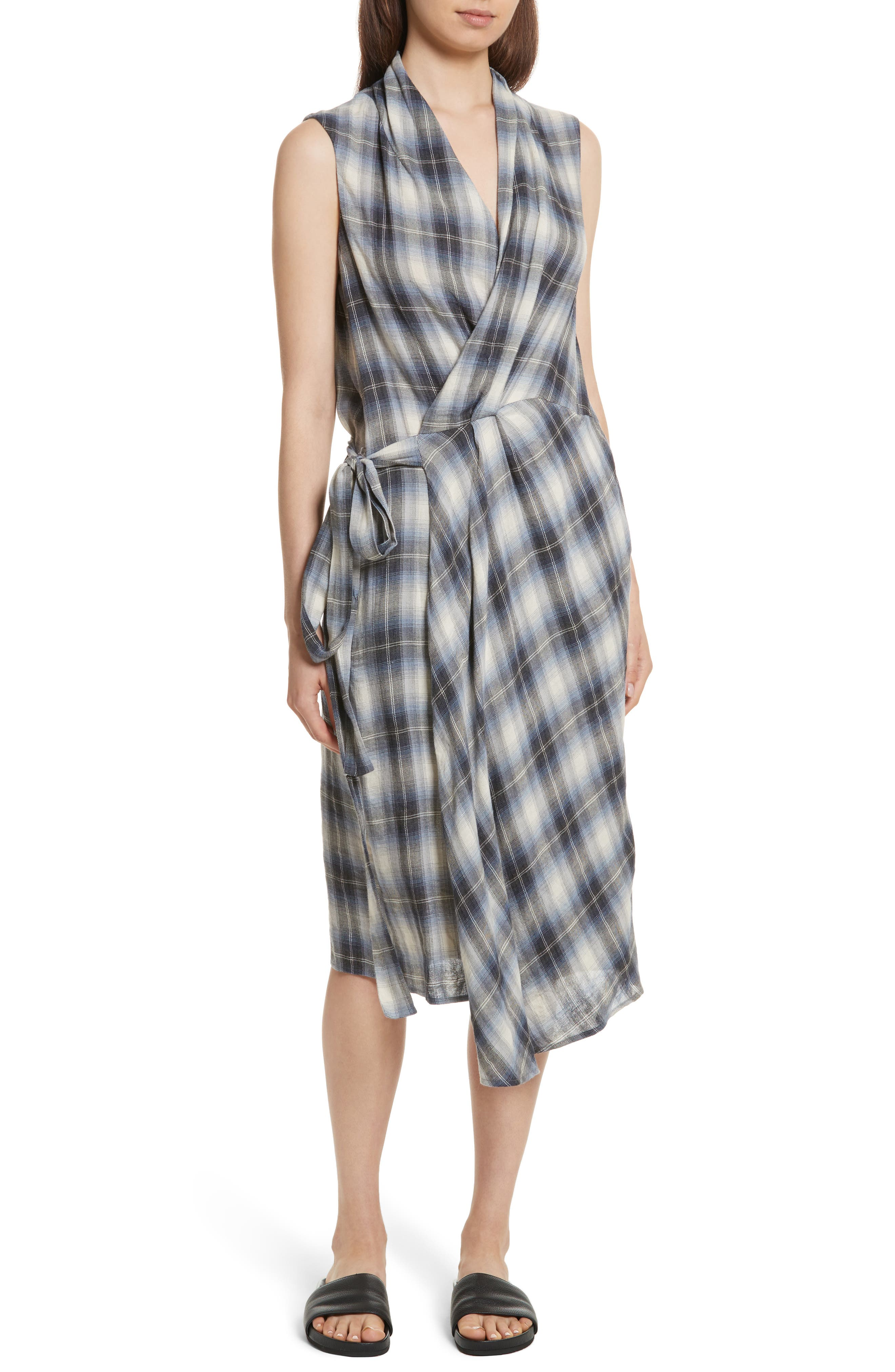 Shadow Plaid Sleeveless Wrap Dress,                         Main,                         color, 409