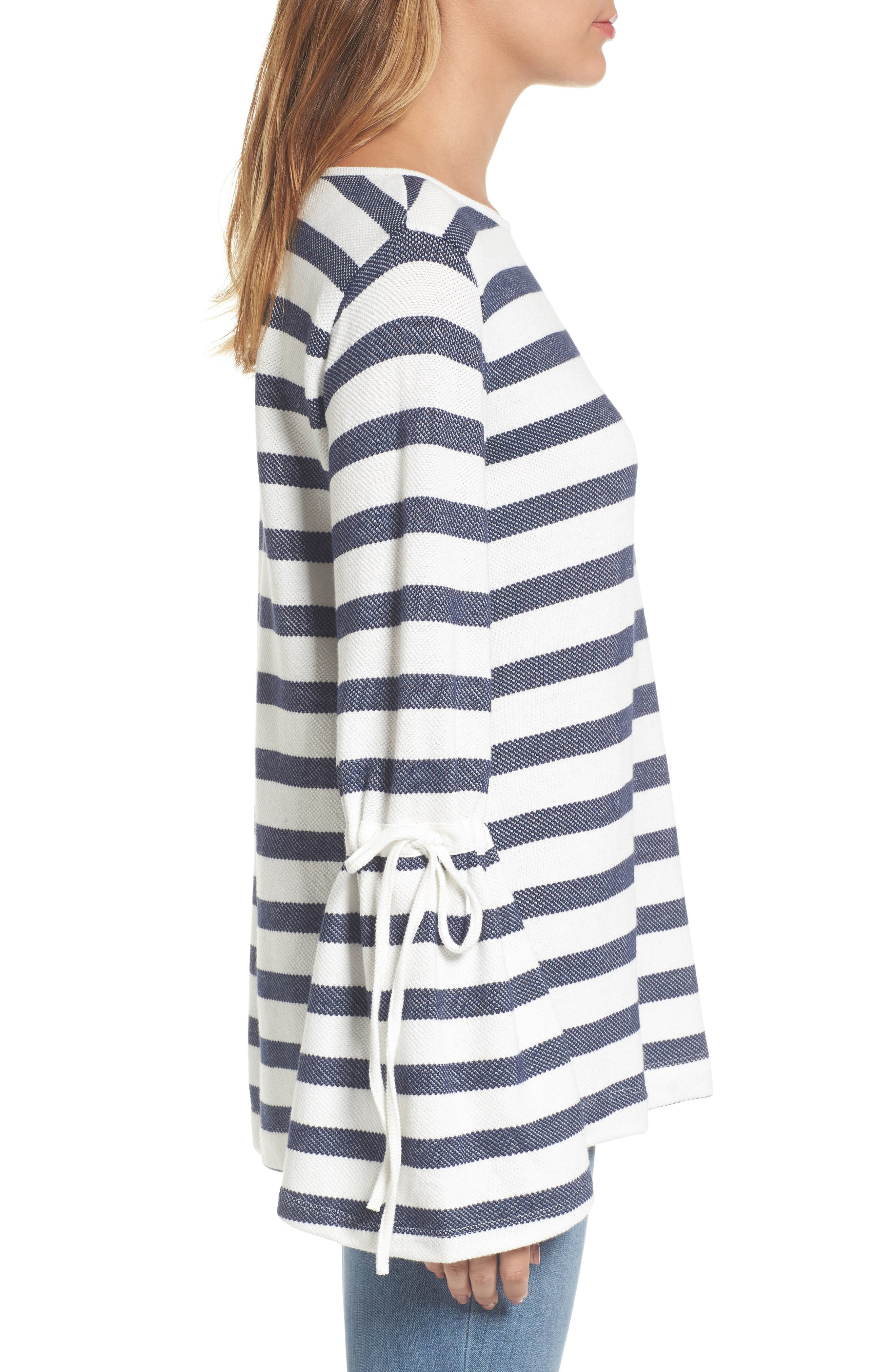Stripe Bell Sleeve Top,                             Alternate thumbnail 3, color,                             410