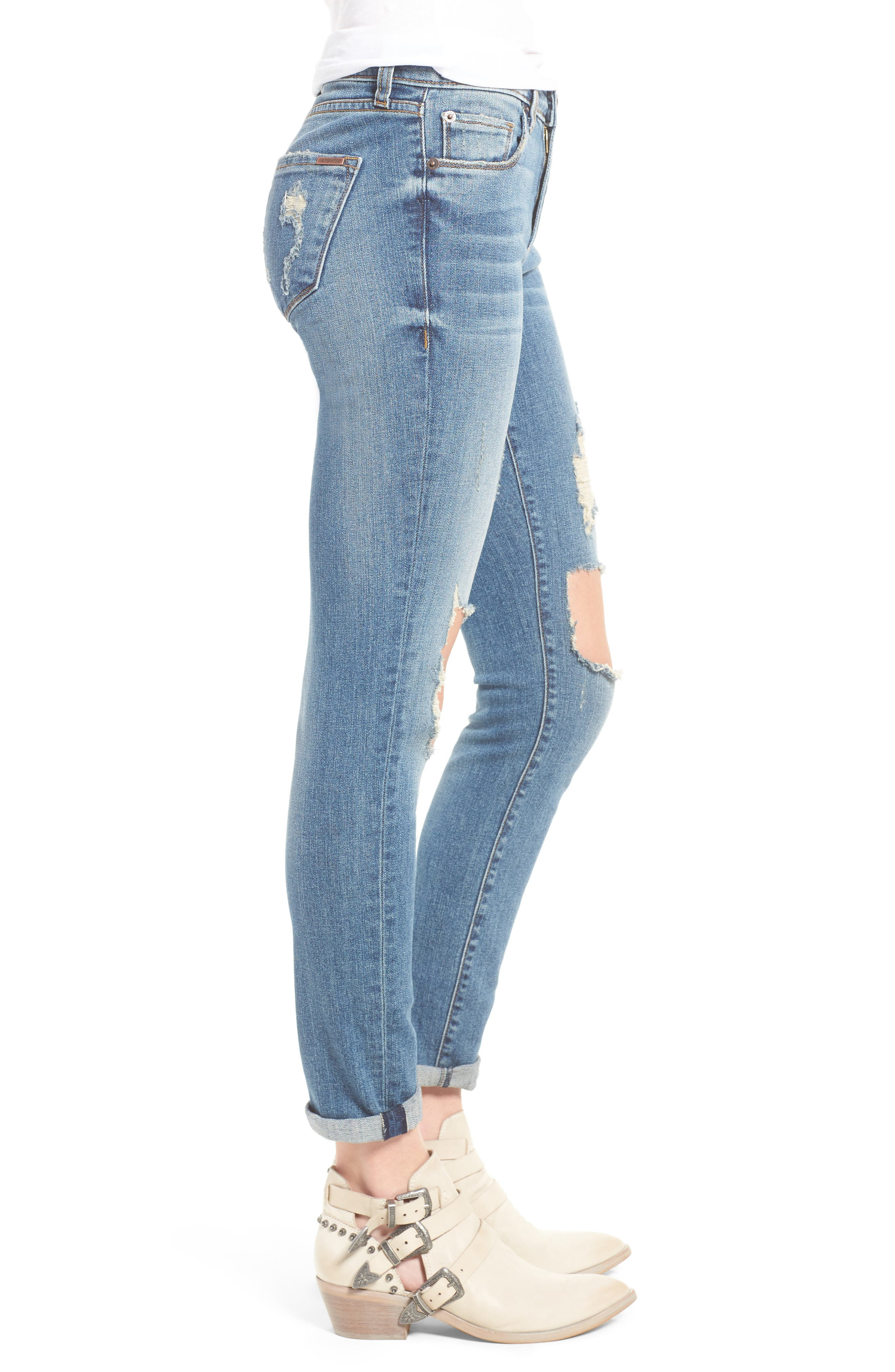 Taylor Ripped Boyfriend Jeans,                             Alternate thumbnail 3, color,                             400
