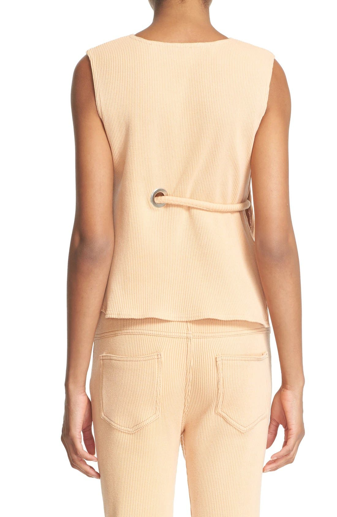 Sleeveless Ribbed Stretch Cotton Top,                             Alternate thumbnail 9, color,                             950