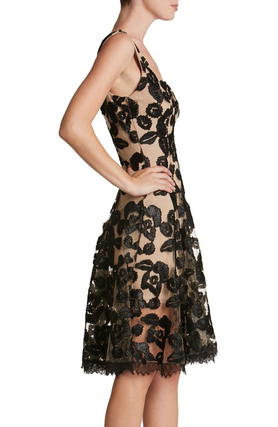 Maya Lace Fit & Flare Dress,                             Alternate thumbnail 2, color,                             002