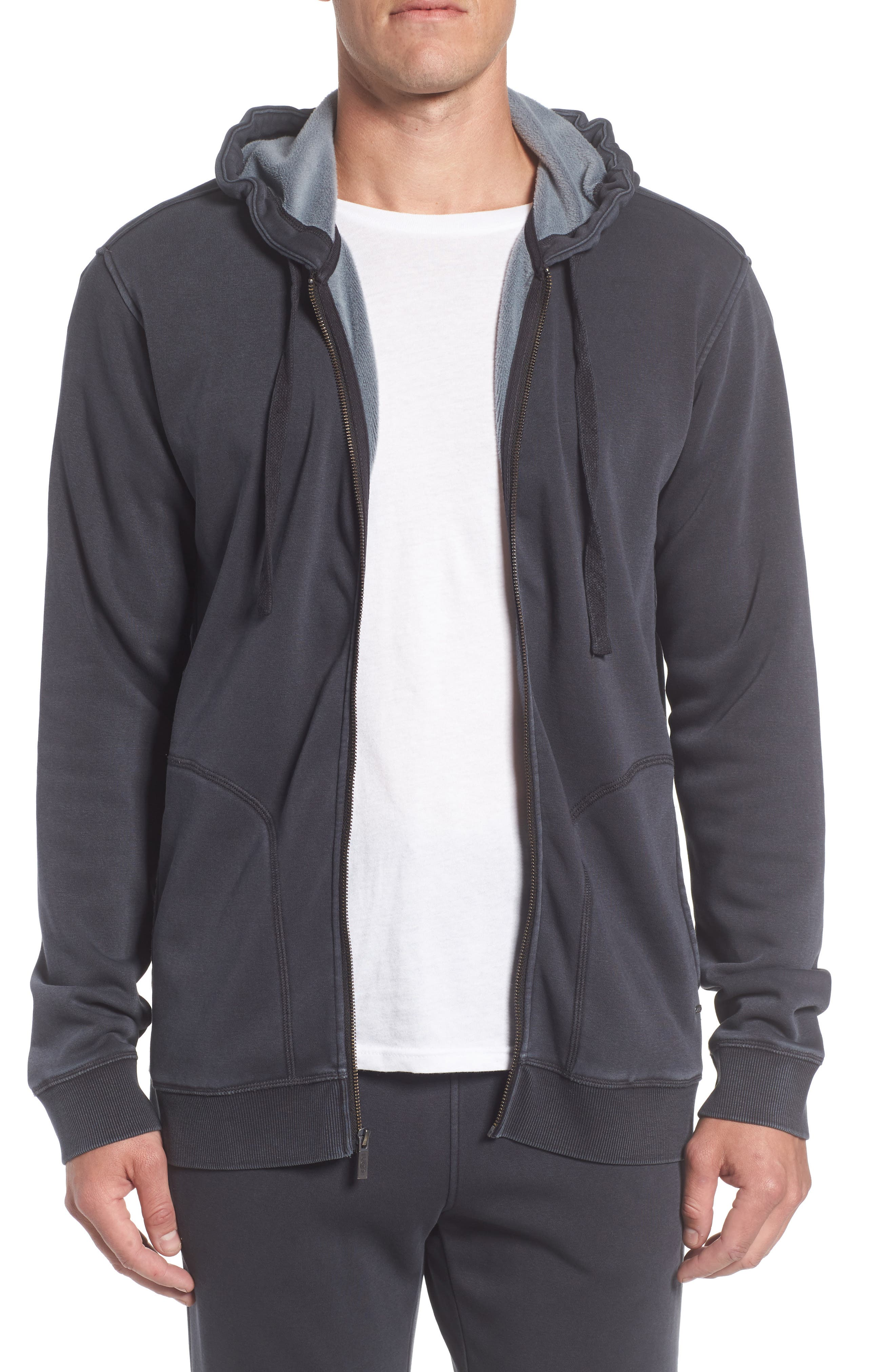 Elliot Washed Zip Hoodie,                         Main,                         color, CHARCOAL