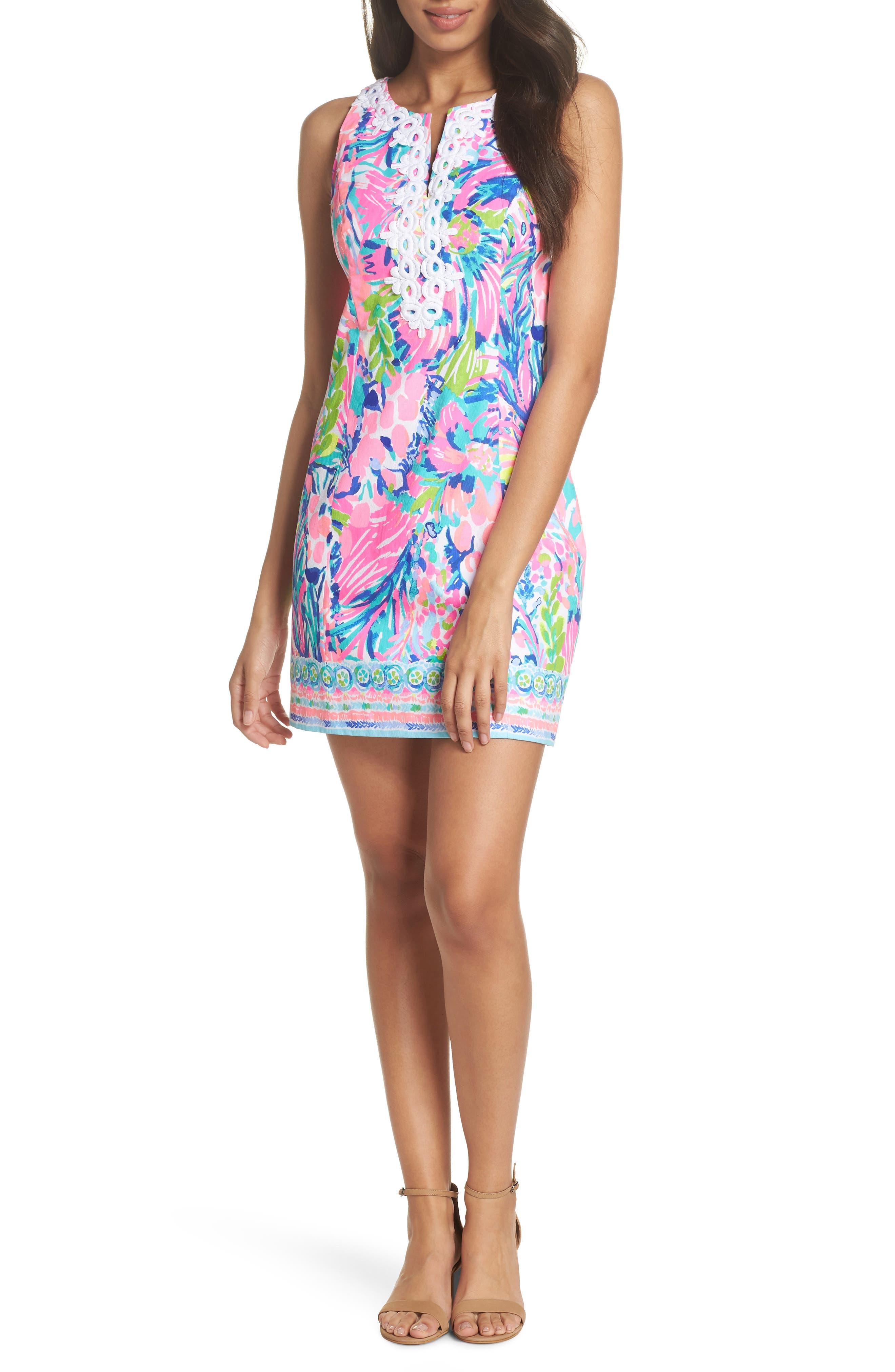 Gabby Tropical Print Dress,                             Alternate thumbnail 6, color,                             699