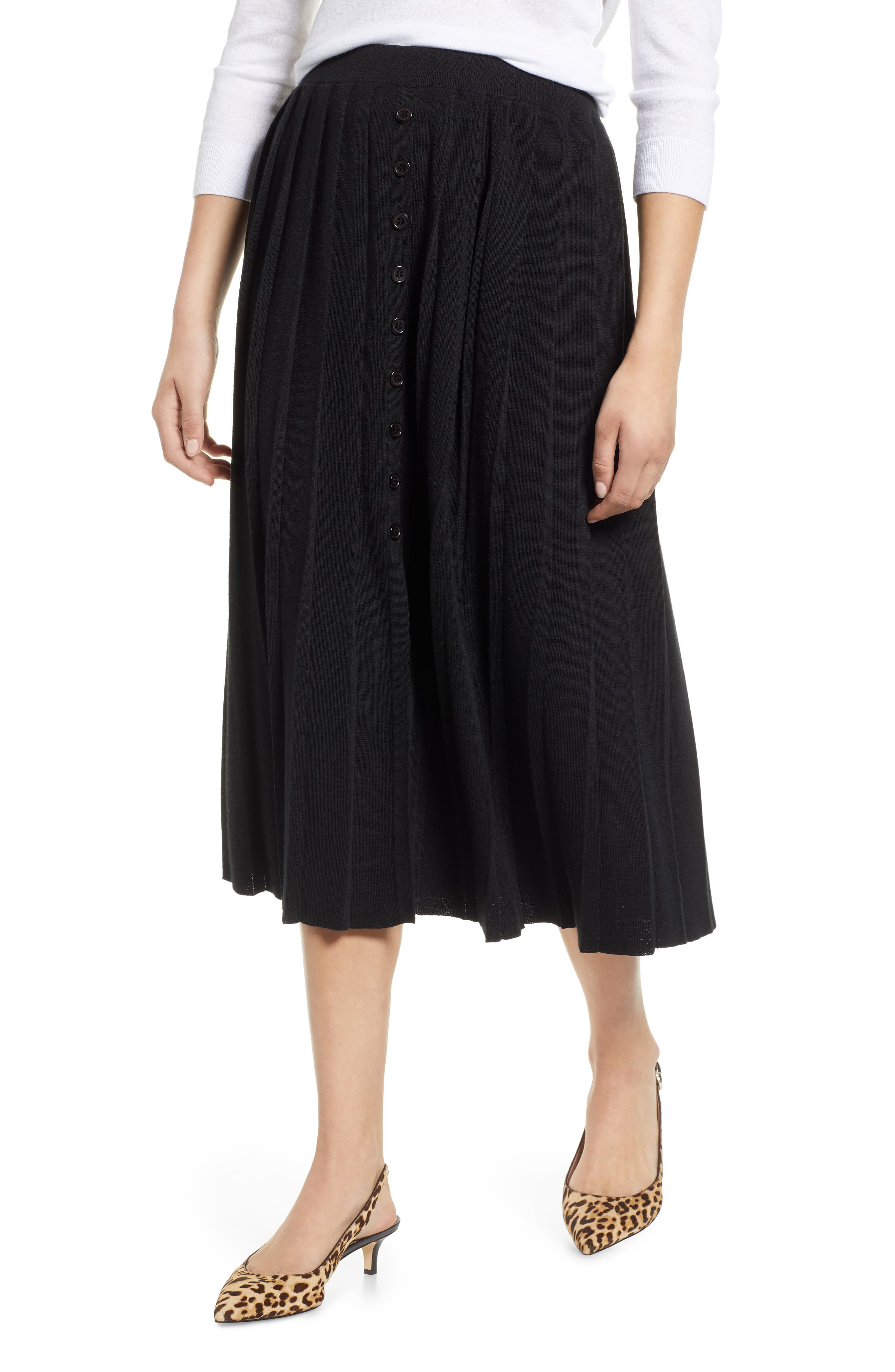 Pleated Sweater Skirt,                         Main,                         color, BLACK